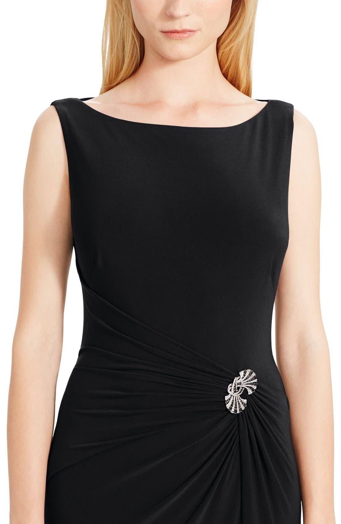 Alternate Image 3  - Lauren Ralph Lauren Ruched Jersey Gown (Regular & Petite)