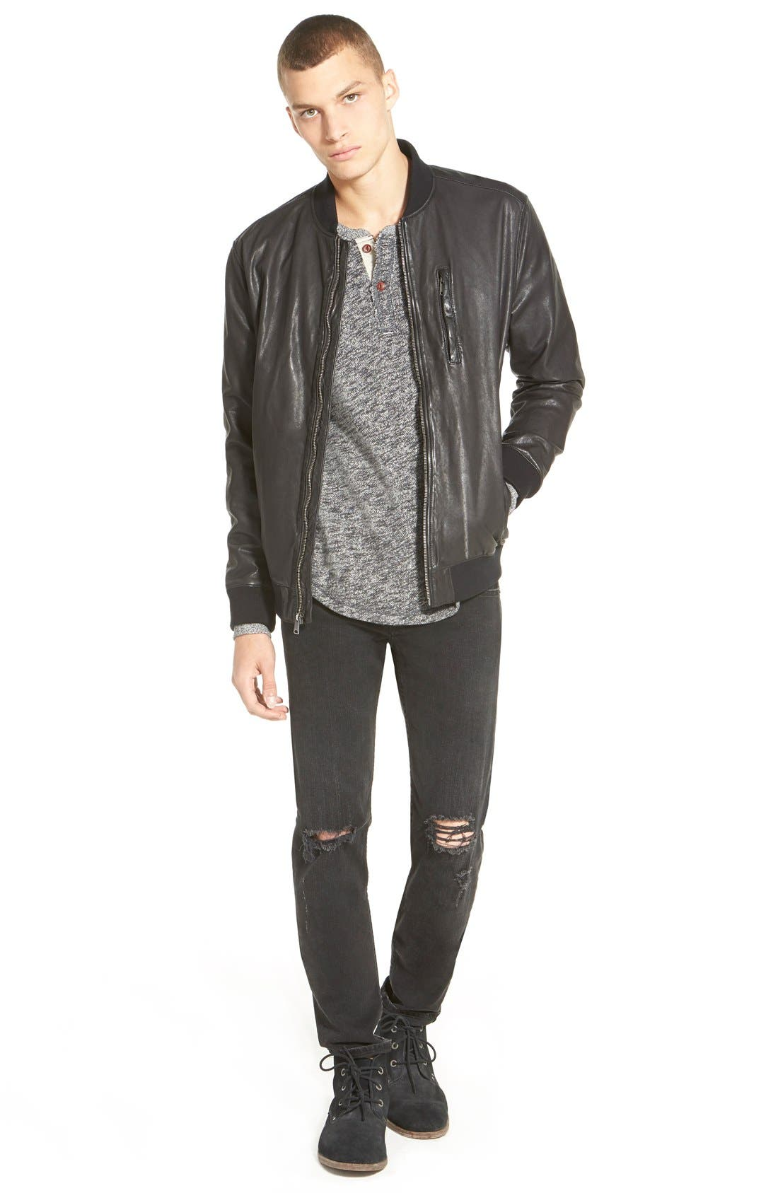 Alternate Image 9  - rag & bone Standard Issue 'Fit 1' Skinny Fit Jeans (Rock with Holes)