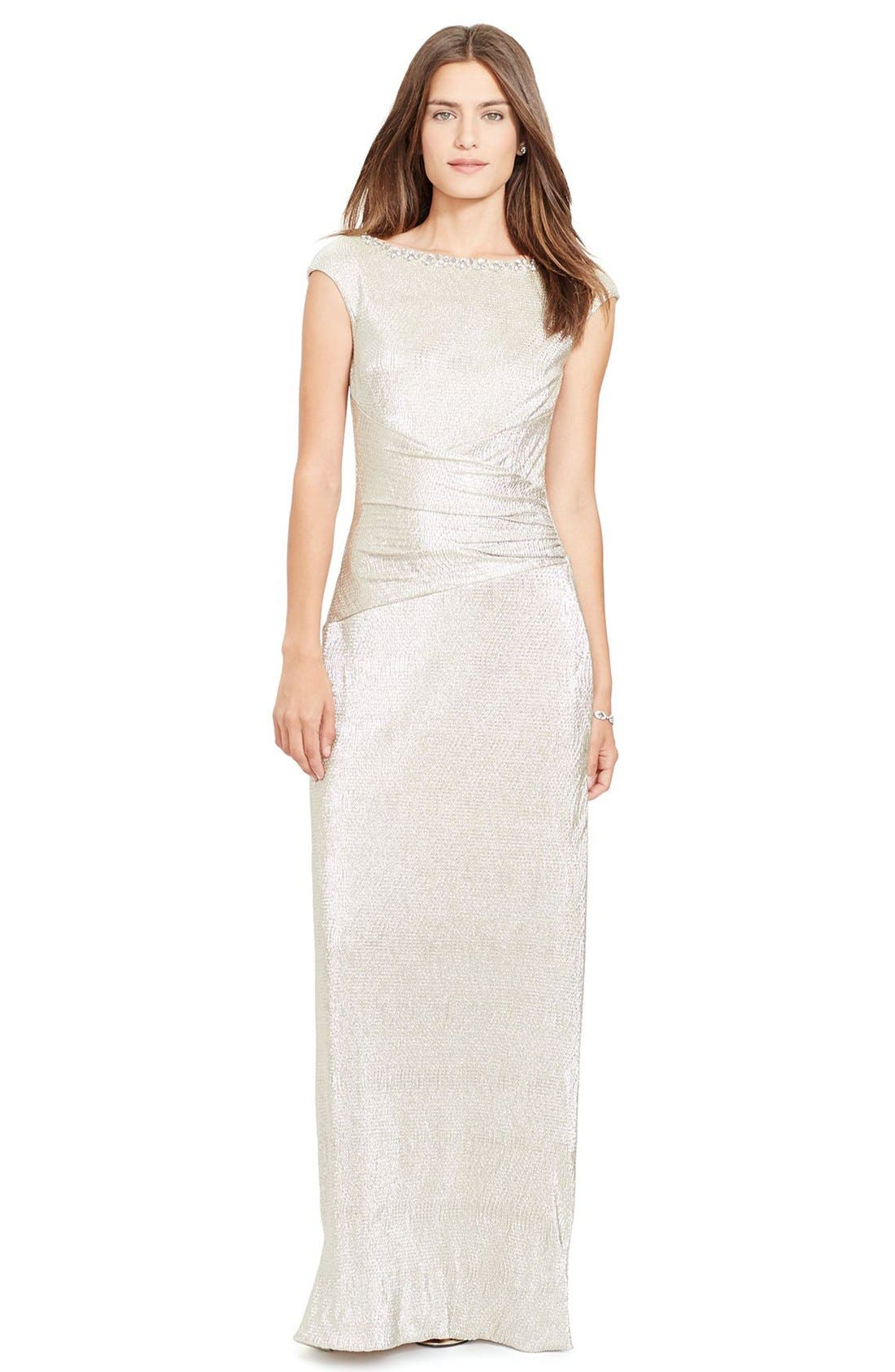Main Image - Lauren Ralph Lauren Embellished Metallic Knit Column Gown (Regular & Petite)