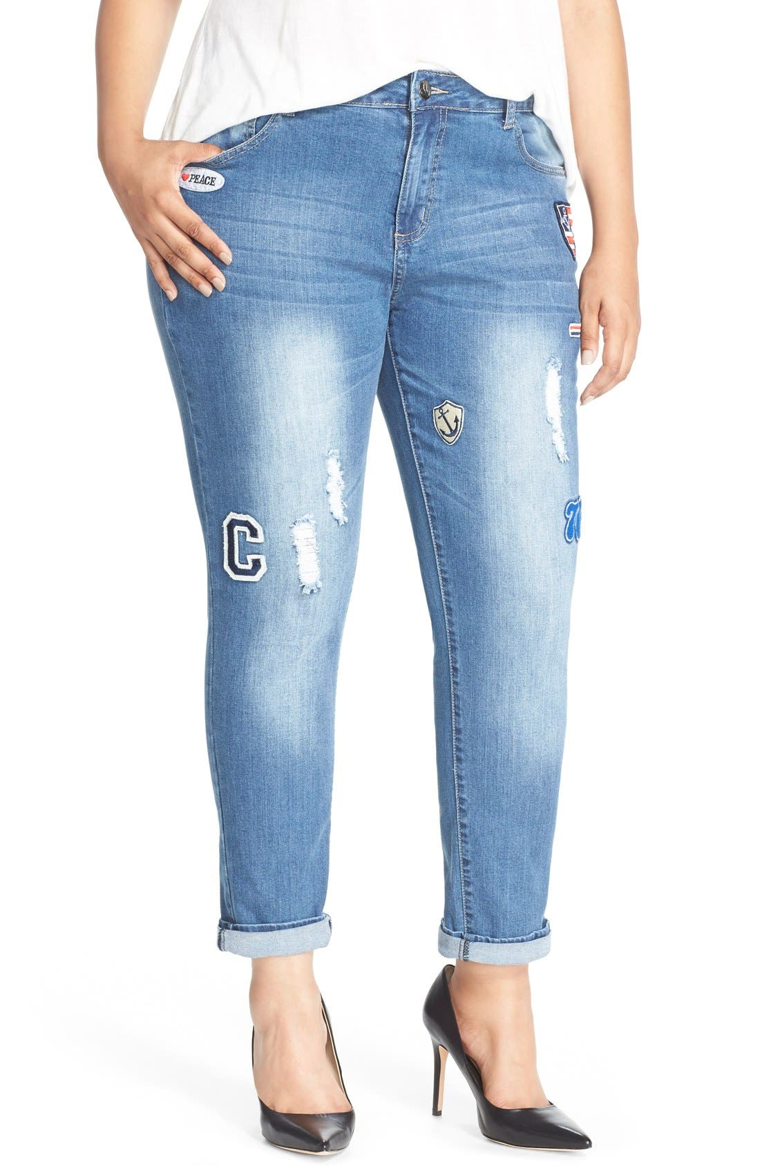 Alternate Image 1 Selected - City Chic '80s Girl' Patch Detail Distressed Roll Cuff Jeans (Dark Denim) (Plus Size)