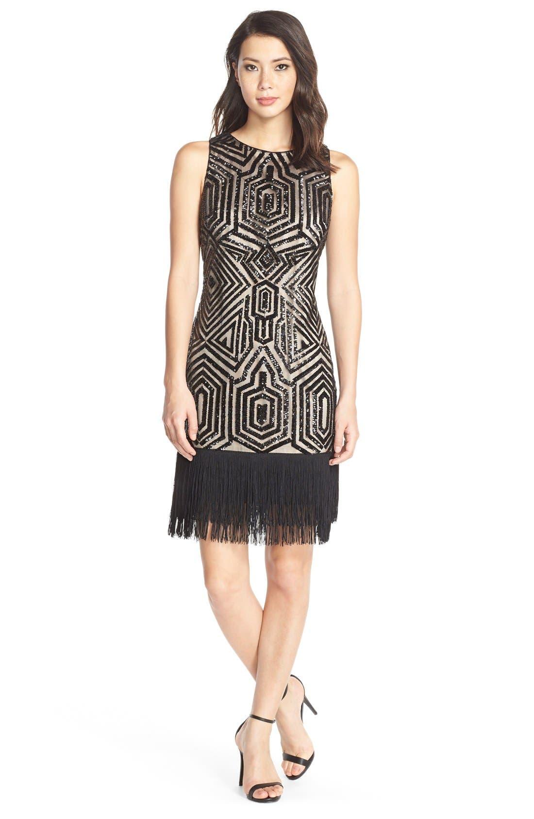 Main Image - Vince CamutoSequin & Fringe Sheath Dress