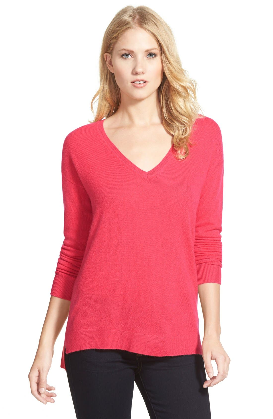 Main Image - Halogen® V-Neck Lightweight Cashmere Sweater (Regular & Petite)