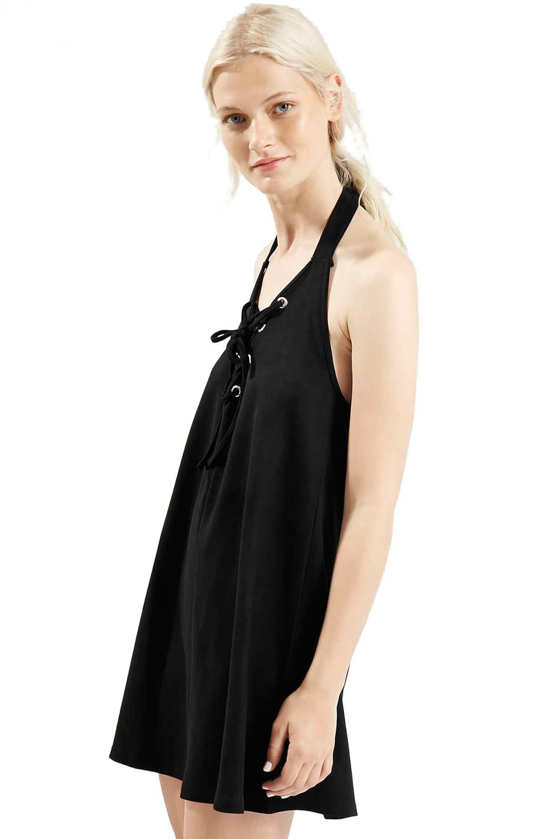 Alternate Image 4  - Topshop Faux Suede Lace Up Halter Dress