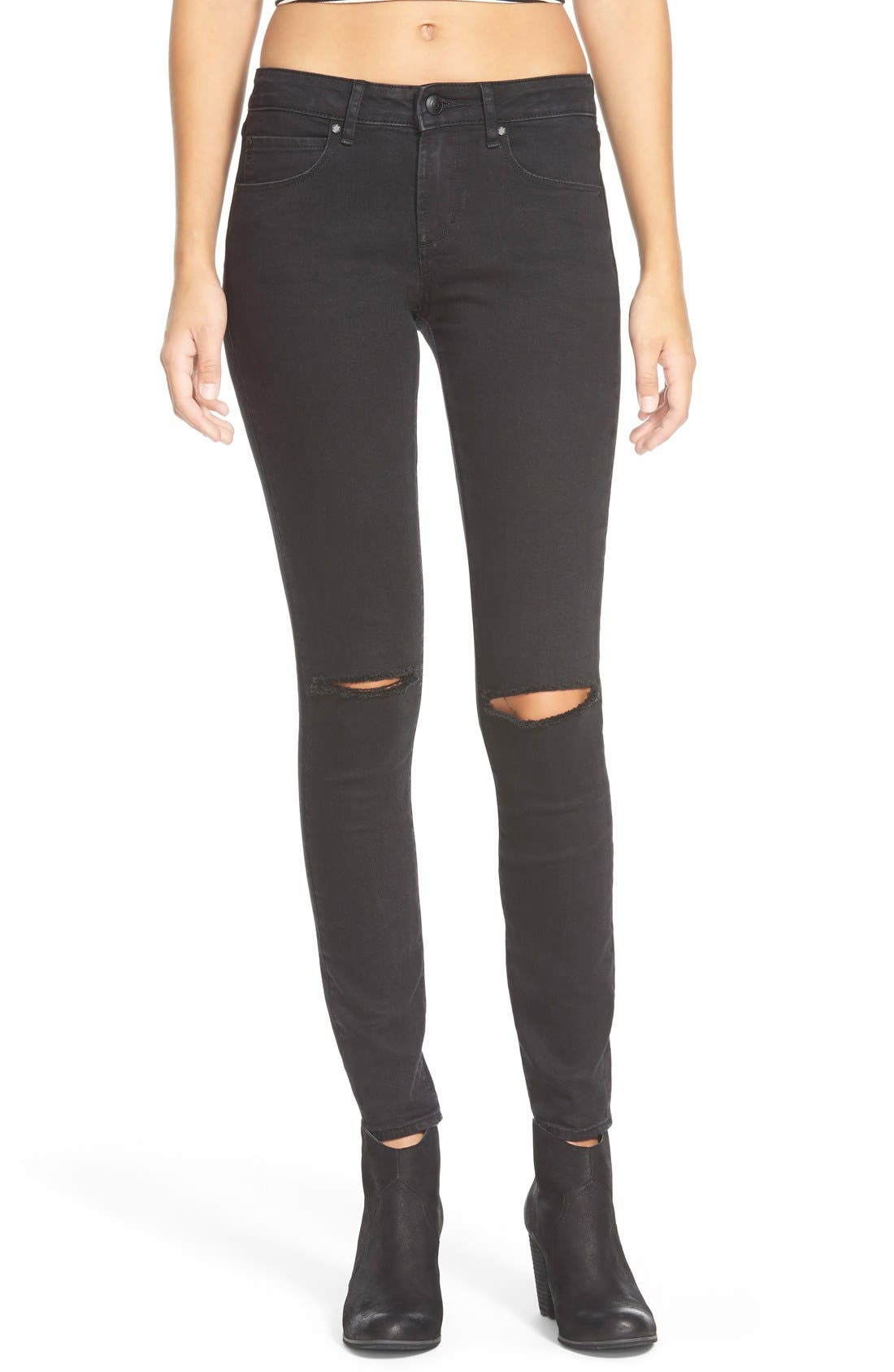 Main Image - Articles of Society 'Sarah' Distressed Skinny Jeans (Black Cat)