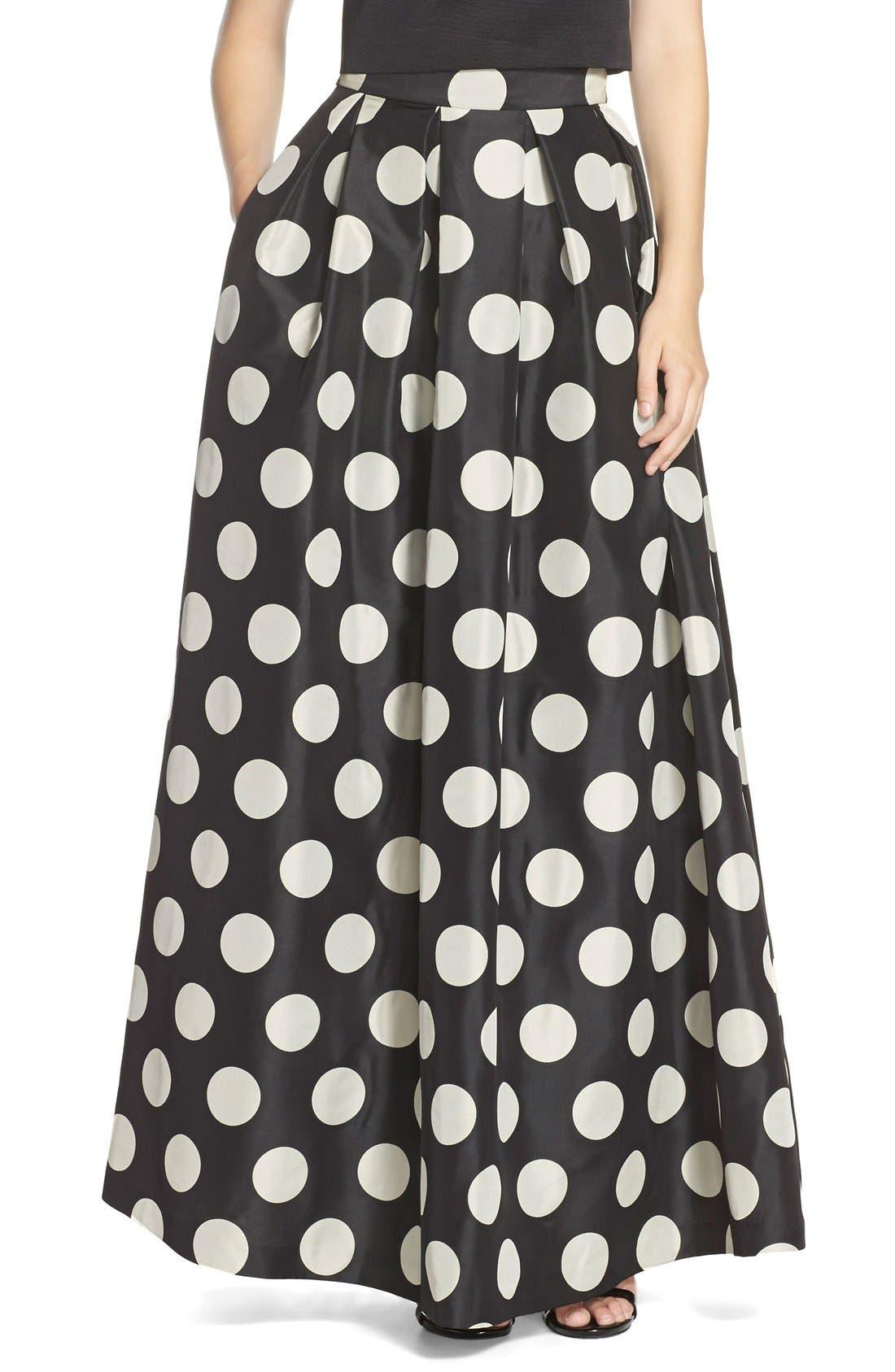 Main Image - Eliza J Polka Dot Woven Ball Skirt