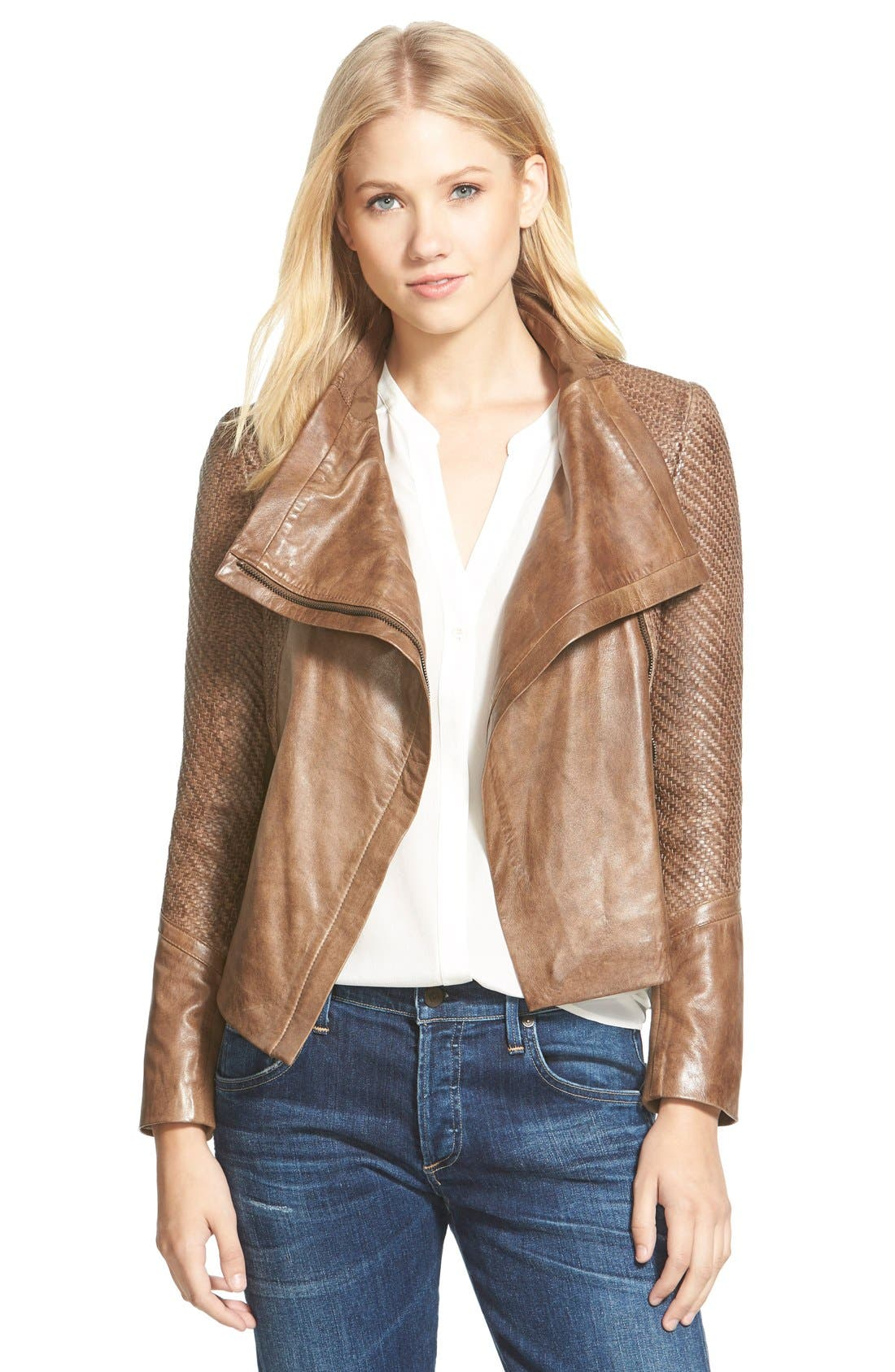 LAMARQUE Basket Weave Detail Lambskin Leather Jacket