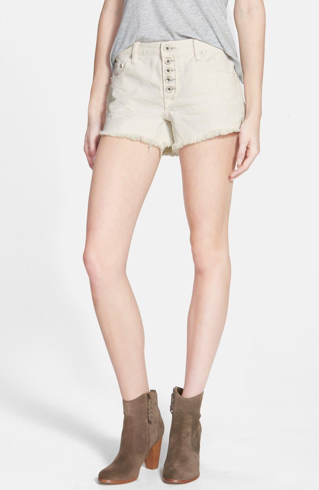 Main Image - Free People 'Runaway' Cutoff Denim Shorts (Polar White)