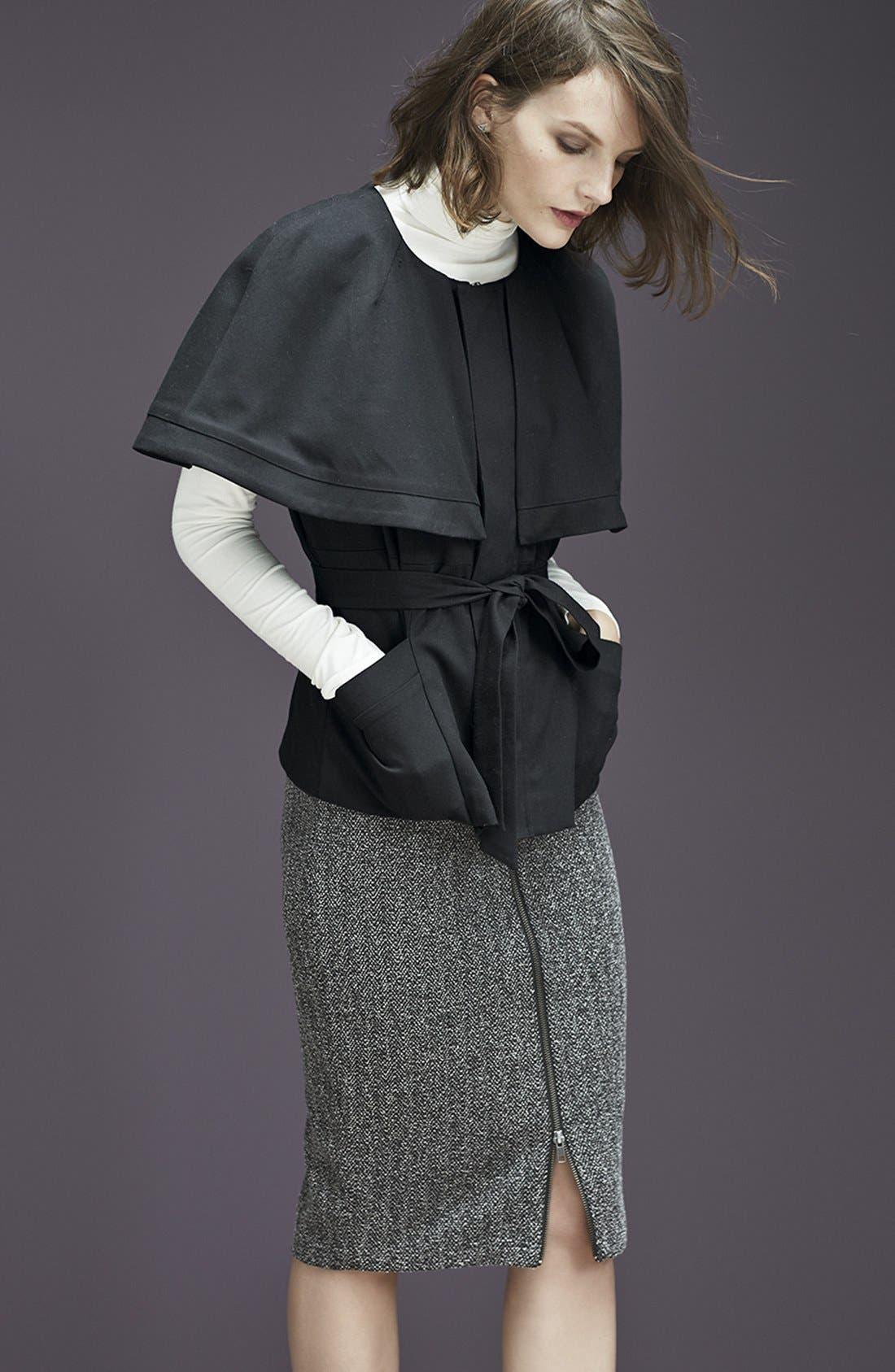 Alternate Image 6  - Halogen® Zip Front Stretch Knit Pencil Skirt (Regular & Petite)