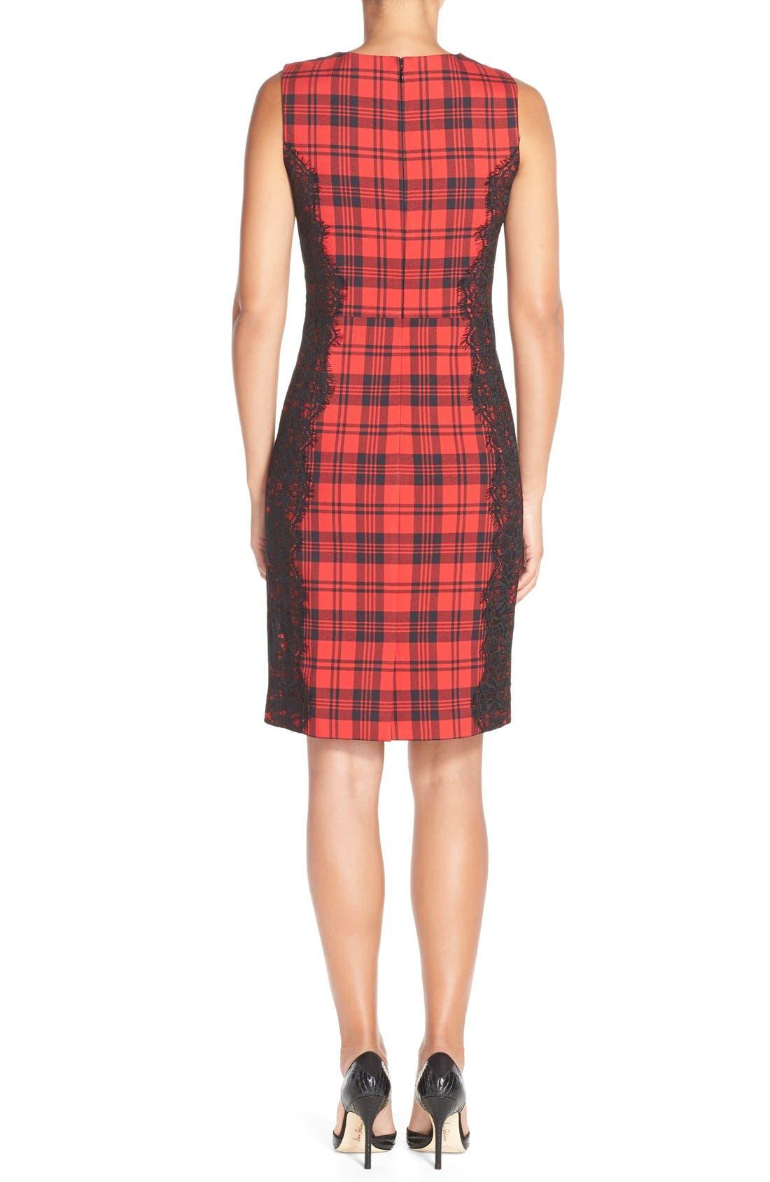 Alternate Image 2  - ChettaB Plaid & Lace Sheath Dress