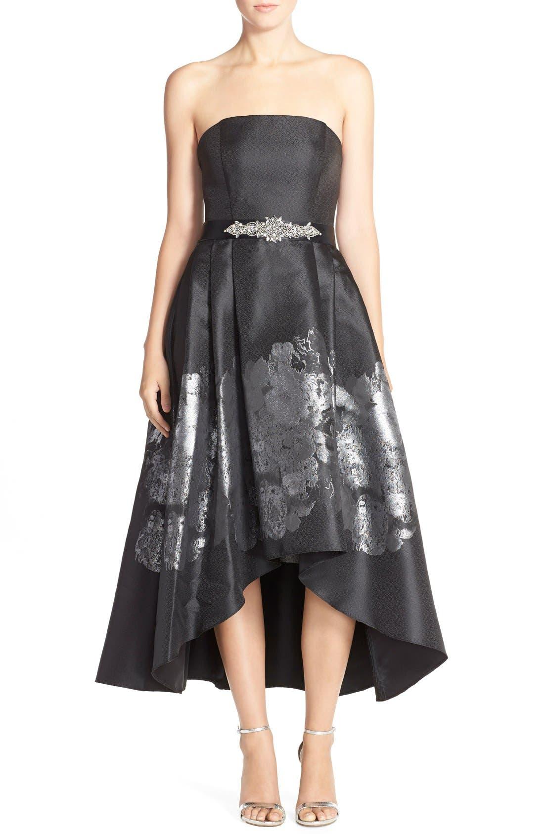 Main Image - Betsy & Adam Metallic Jacquard High/Low Fit & Flare Dress