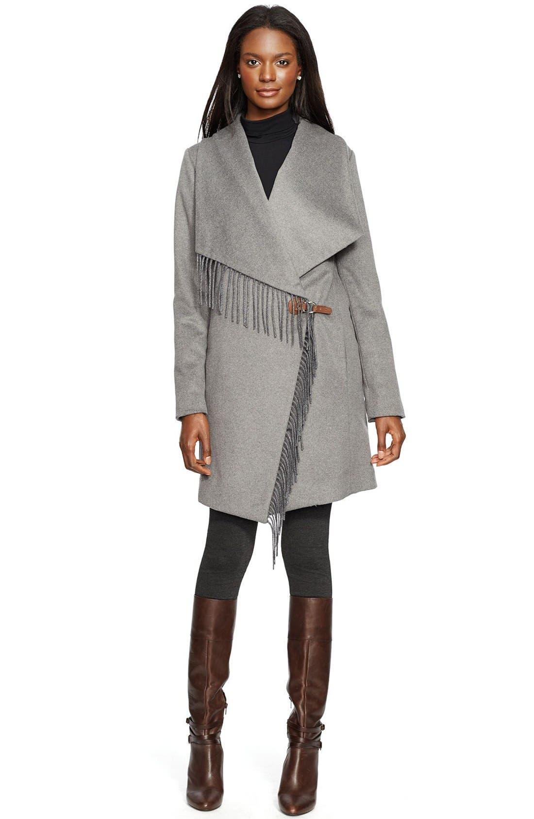 Main Image - Lauren Ralph Lauren Fringe Trim LongDrape Front Coat