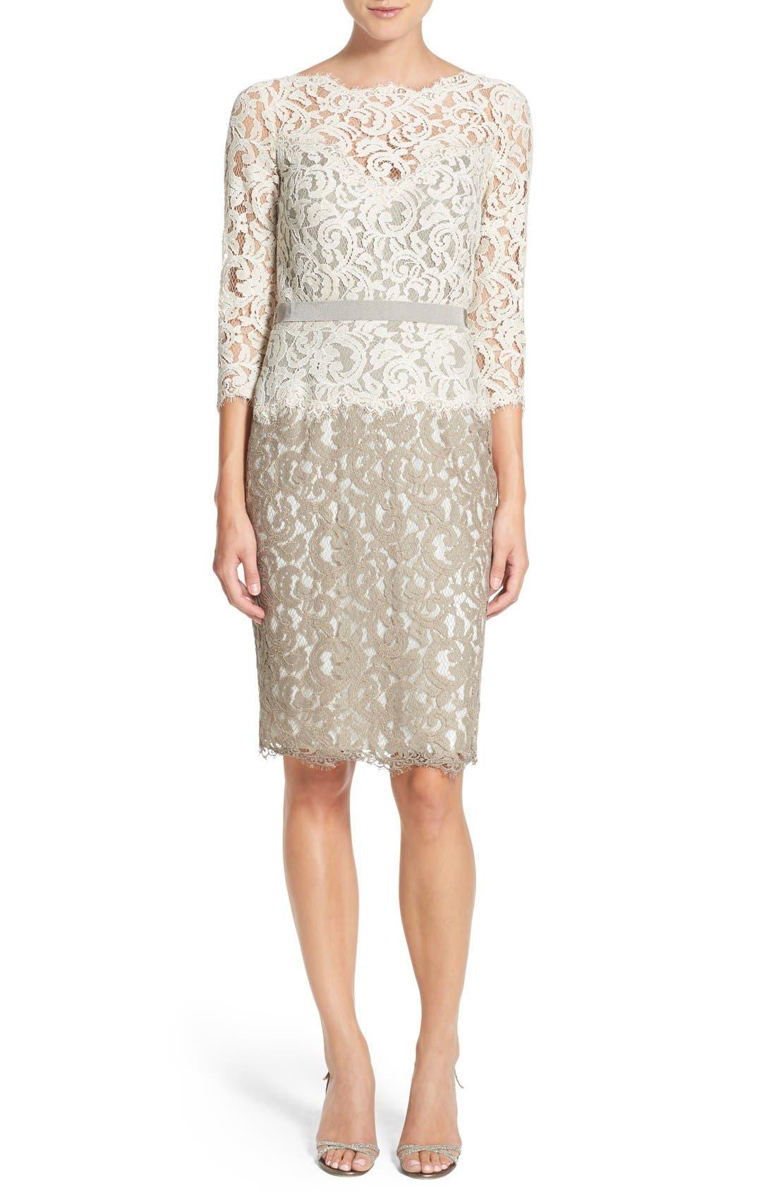 Alternate Image 6  - Tadashi Shoji Two-Tone Lace Sheath Dress (Regular & Petite)