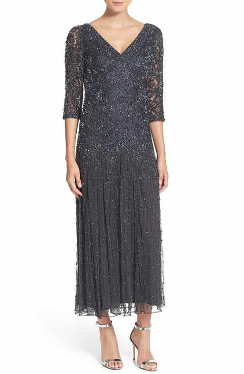 Pisarro Nights Beaded Mesh Dress (Regular   Petite)