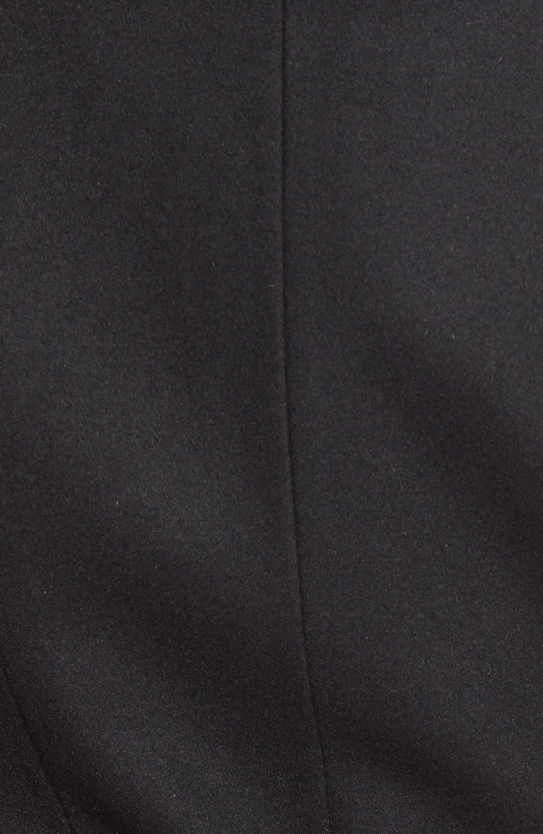 Alternate Image 5  - Belle BadgleyMischka 'Lorian' FauxLeather Trim BeltedAsymmetrical Wool Blend Coat
