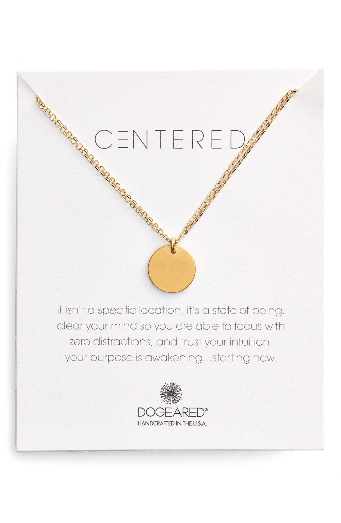 Main Image - Dogeared 'Centered' Large Circle Charm Necklace