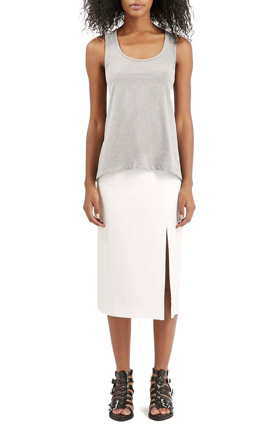 Alternate Image 2  - Topshop Boutique Side Slit Midi Skirt