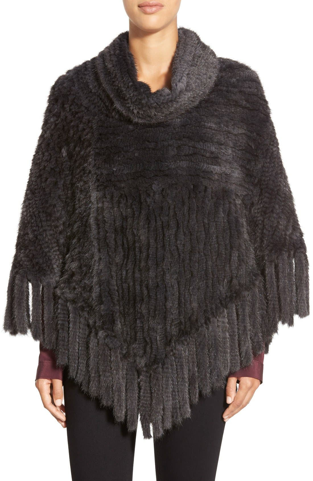 Alternate Image 1 Selected - Belle Fare Fringe Genuine Mink Poncho