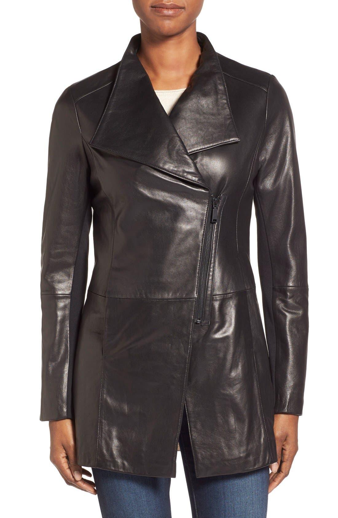 Main Image - ElieTahari'Claire' AsymmetricalCutaway Leather Coat