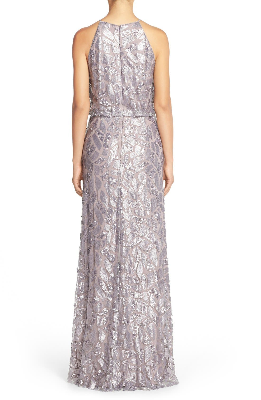Alternate Image 2  - Donna Morgan 'Tiffany' Sequin Halter-Style Blouson Gown