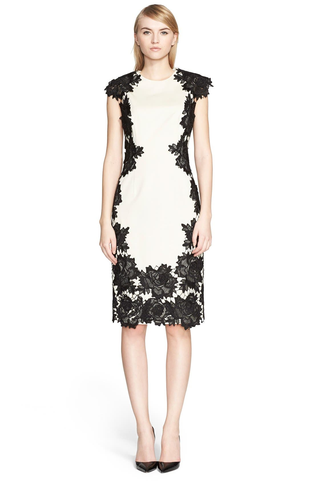 Alternate Image 1 Selected - Lela Rose Guipure Lace Appliqué Sheath Dress