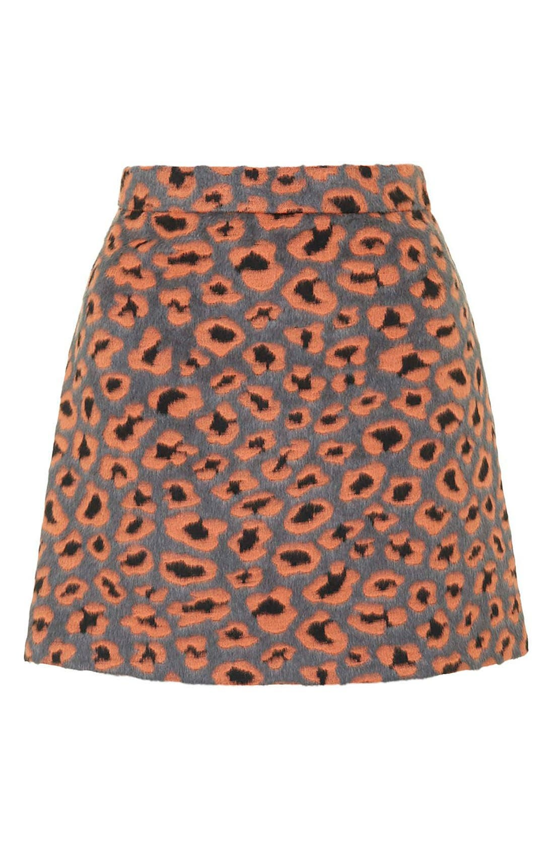Alternate Image 4  - Topshop Leopard Print A-Line Miniskirt