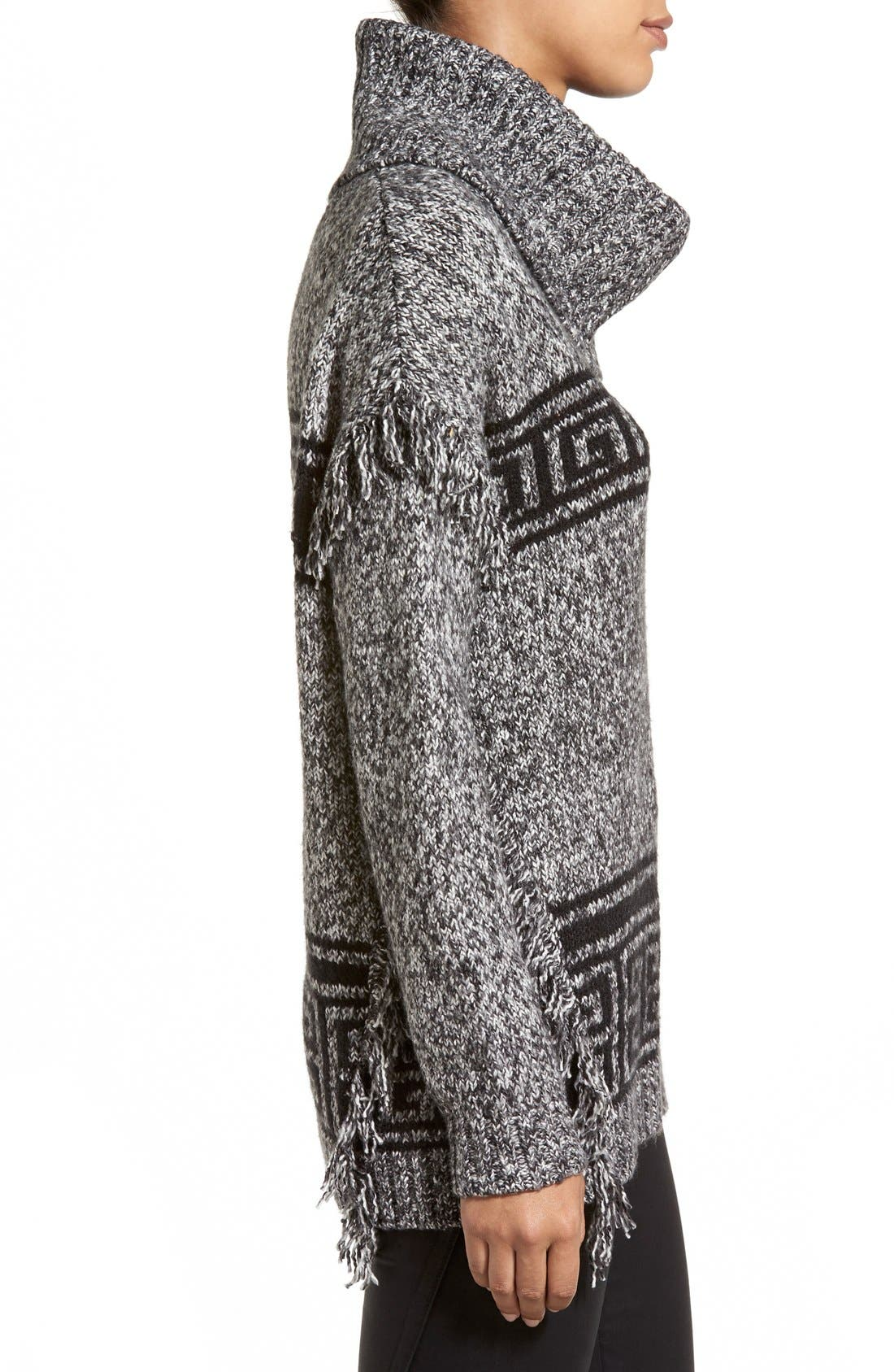 Alternate Image 3  - kensie Fringe Trim Turtleneck Sweater