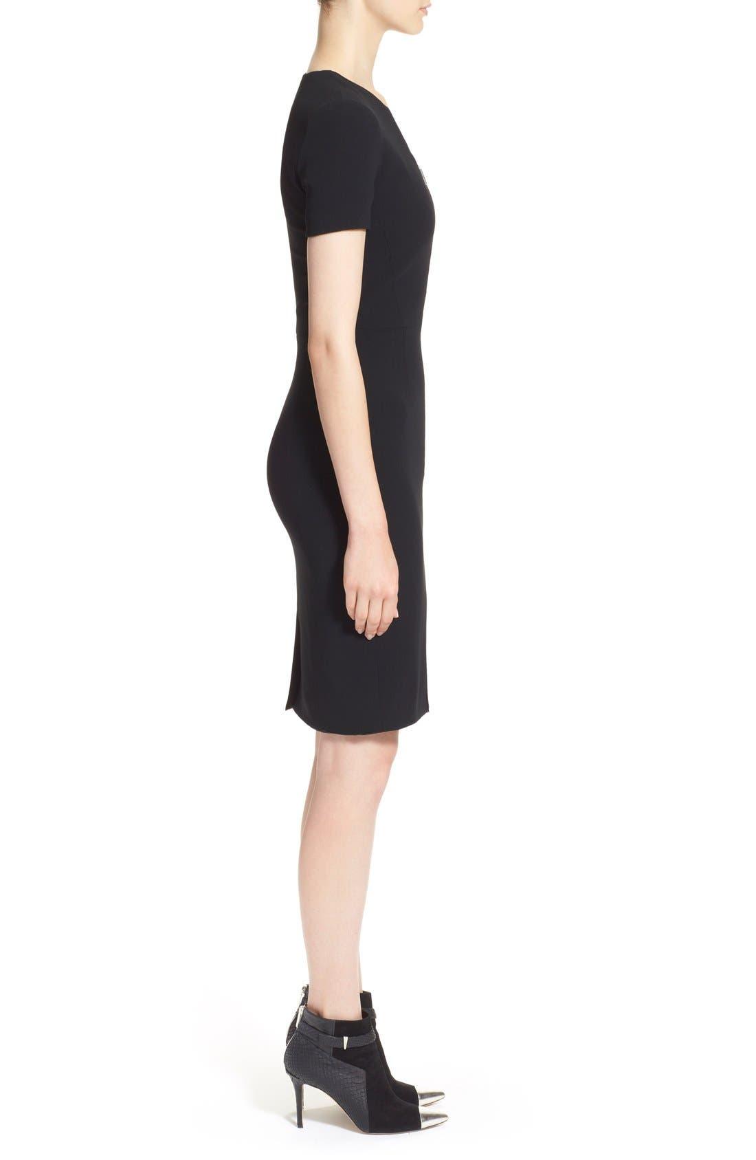 Alternate Image 4  - Prabal Gurung Zip Front Stretch Wool Sheath Dress