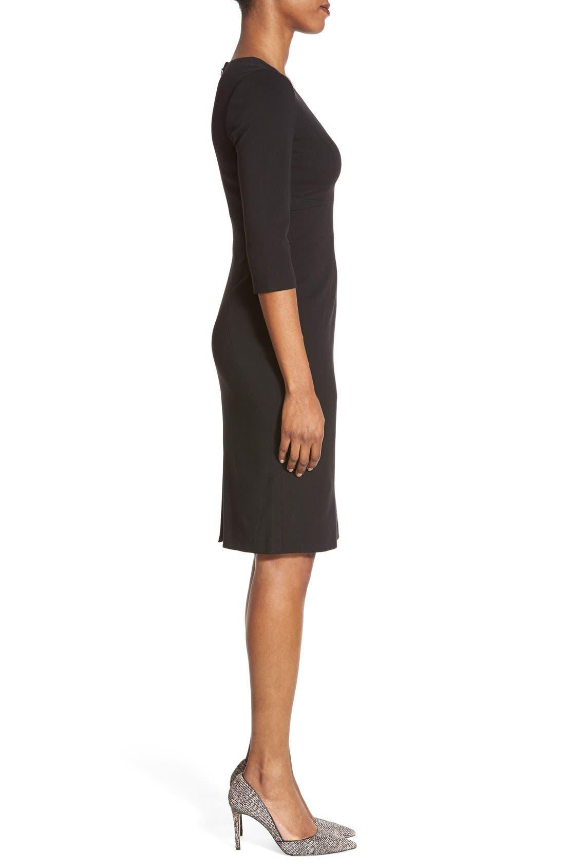 Alternate Image 3  - Classiques Entier® V-Neck Ponte Sheath Dress (Regular & Petite)