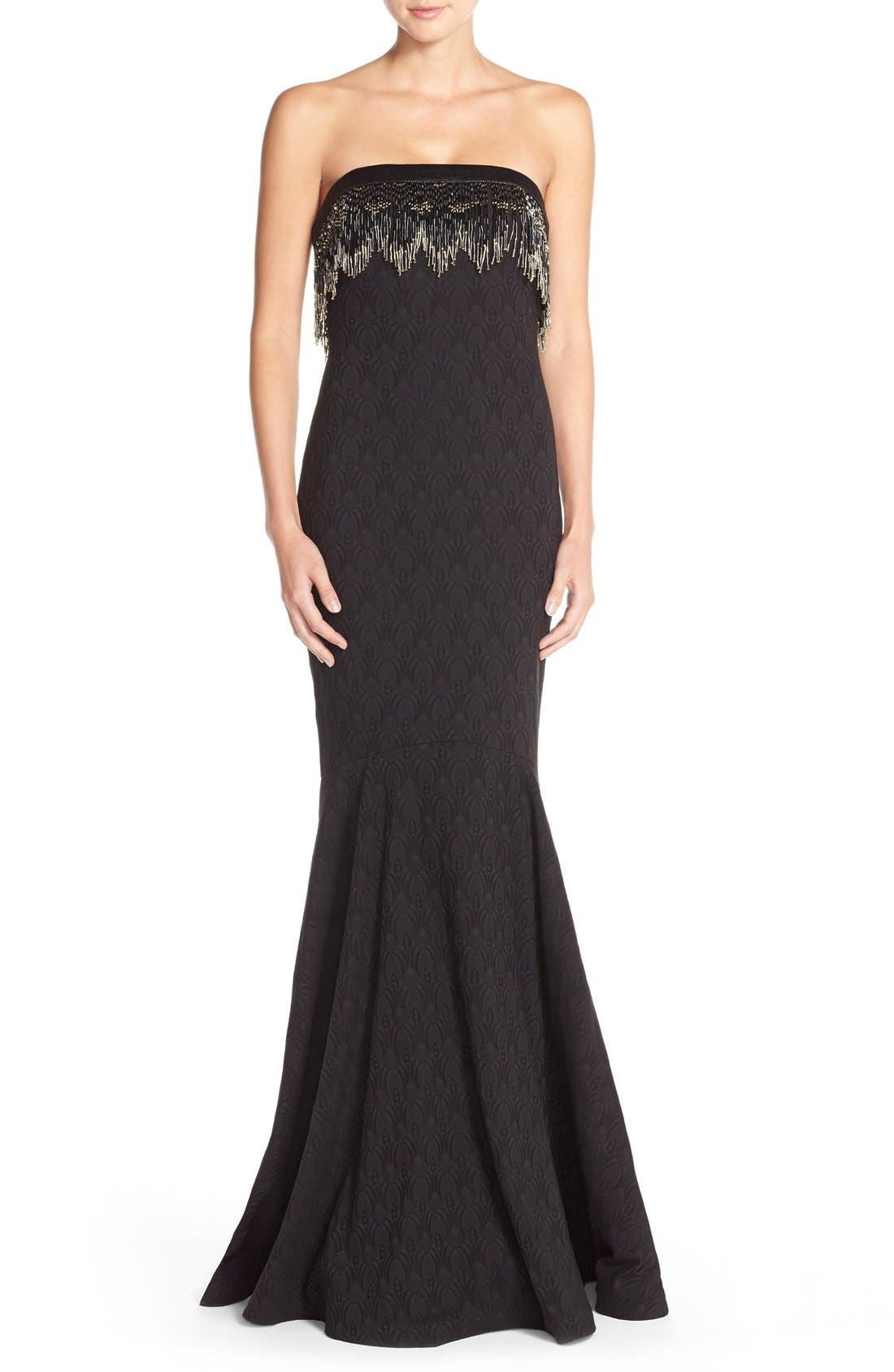 Main Image - Badgley Mischka Bead Fringe Jacquard Mermaid Gown