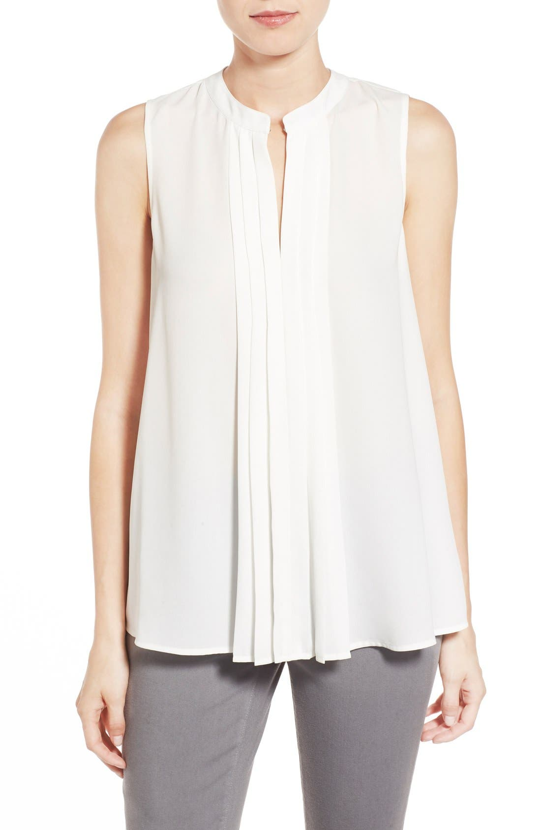 Vince Camuto Pleat Front Sleeveless Blouse | Nordstrom