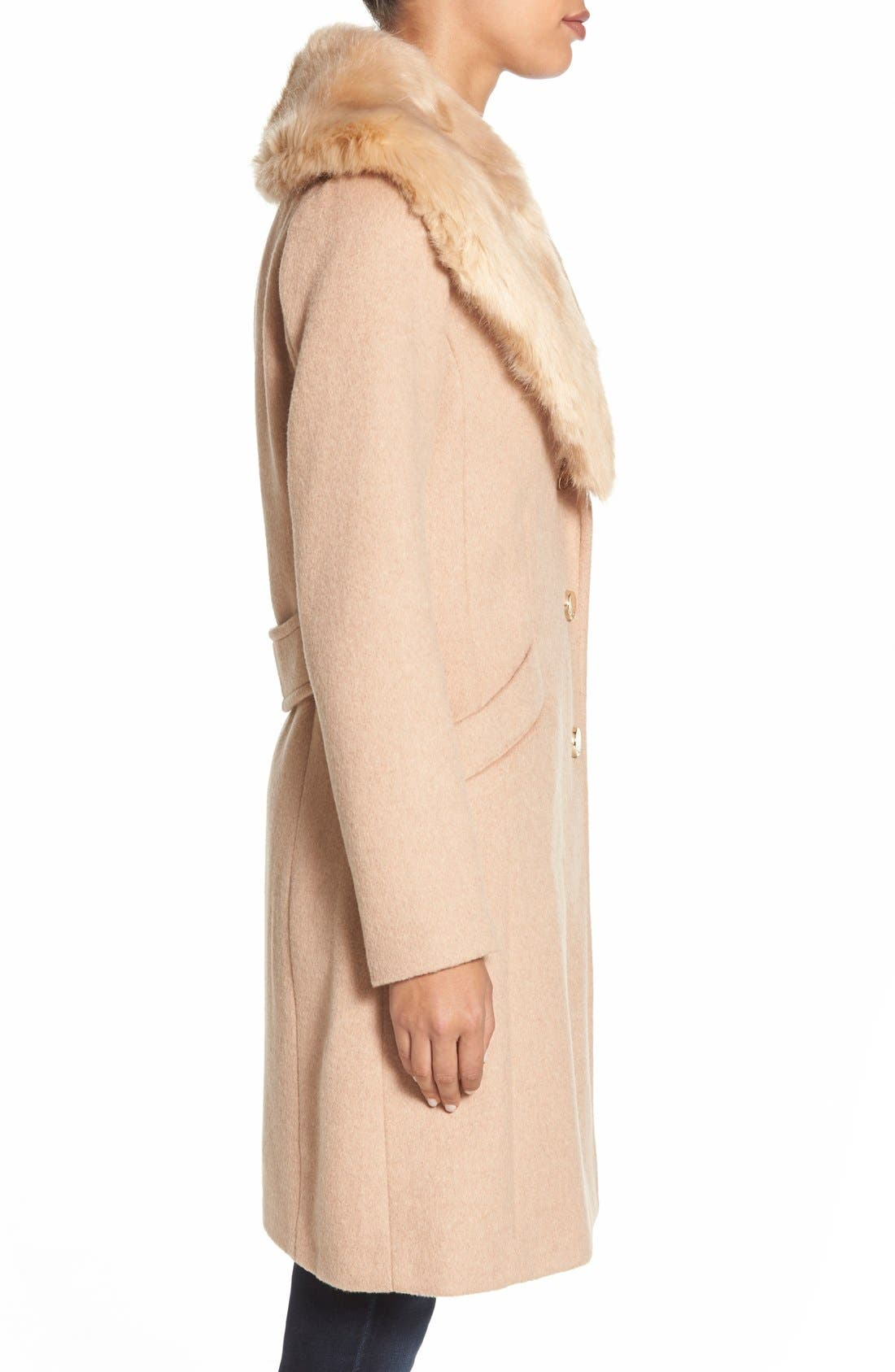 Alternate Image 3  - Eliza J Faux Fur Collar Long Wool Blend Coat
