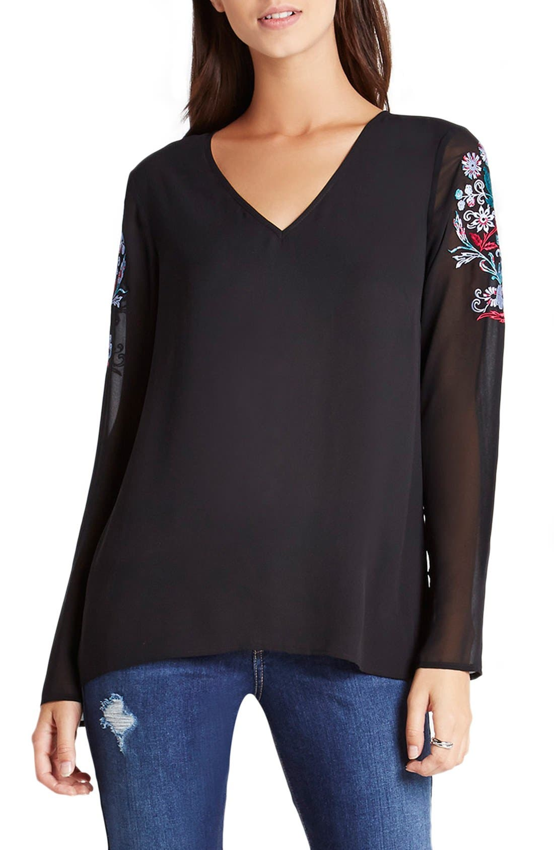 Alternate Image 1 Selected - BCBGeneration Embroidered Chiffon & Crepe Blouse