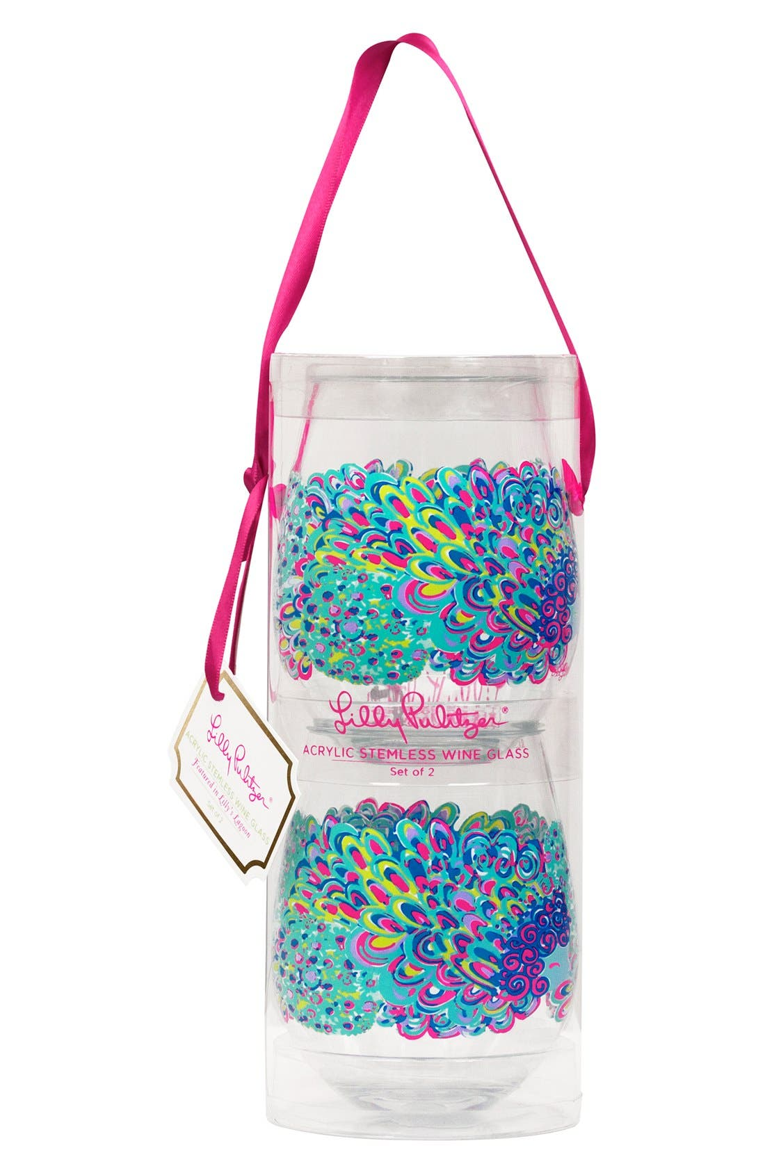 Main Image - Lilly Pulitzer® Set of 2 Stemless Wine Glasses