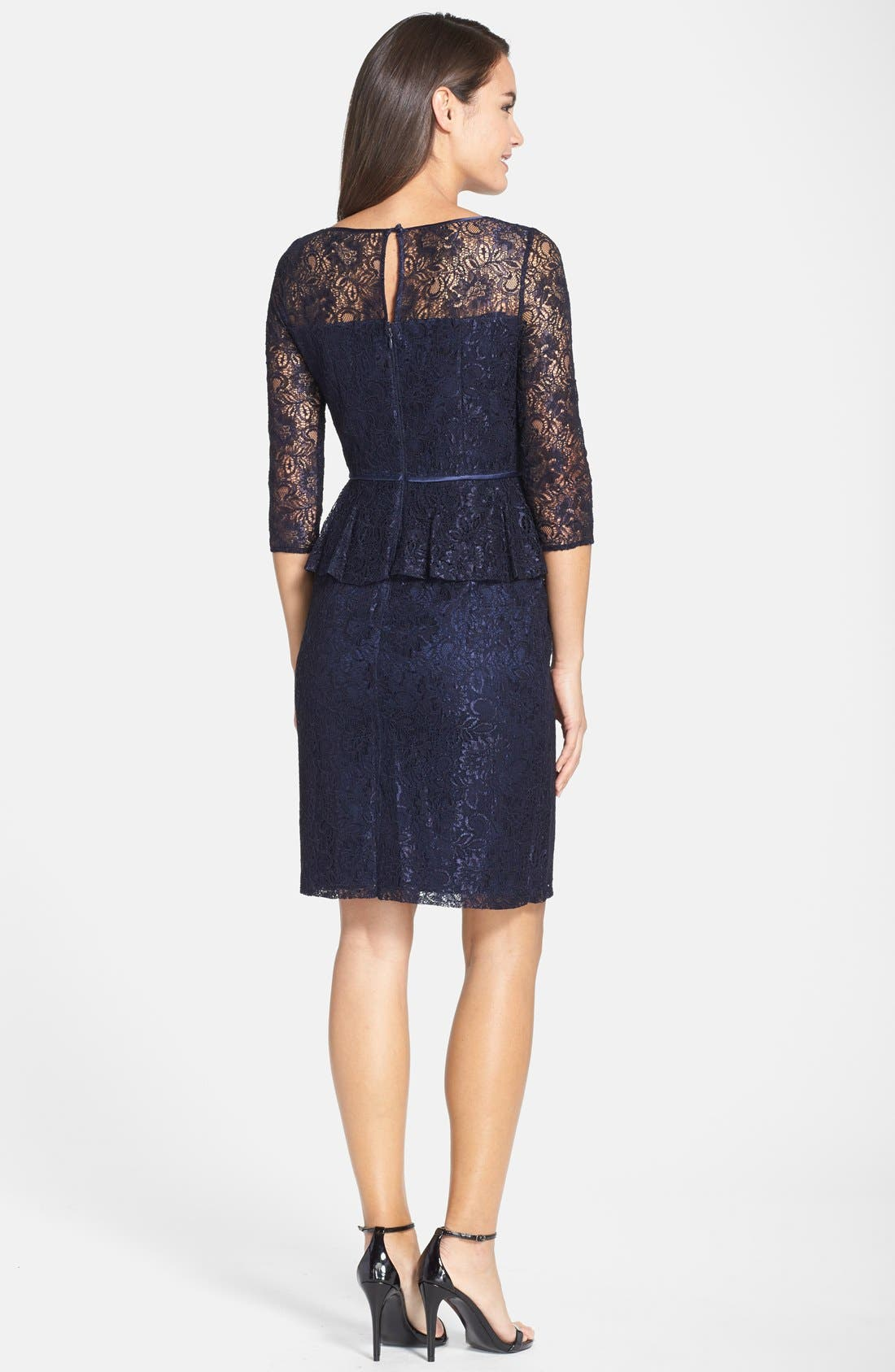 Alternate Image 2  - Adrianna Papell Peplum Lace Sheath Dress (Nordstrom Exclusive)