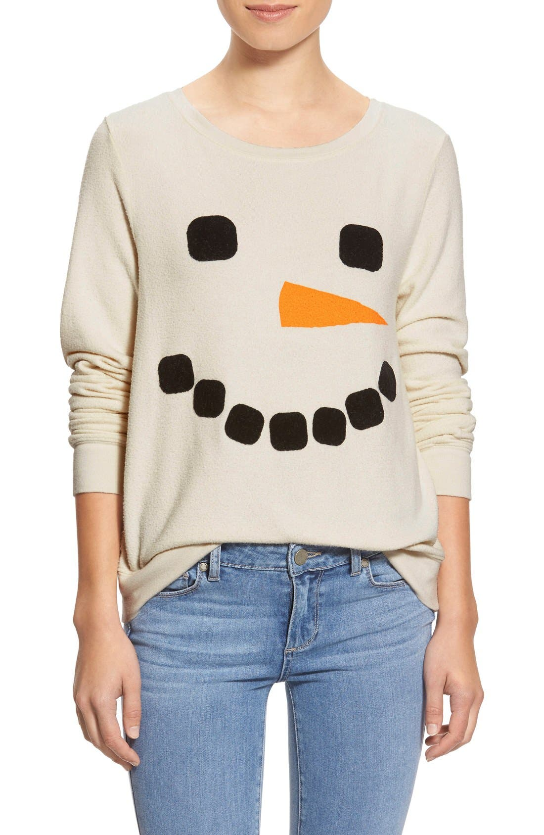 Main Image - Wildfox 'Baggy Beach Jumper - Frosty Face' Pullover