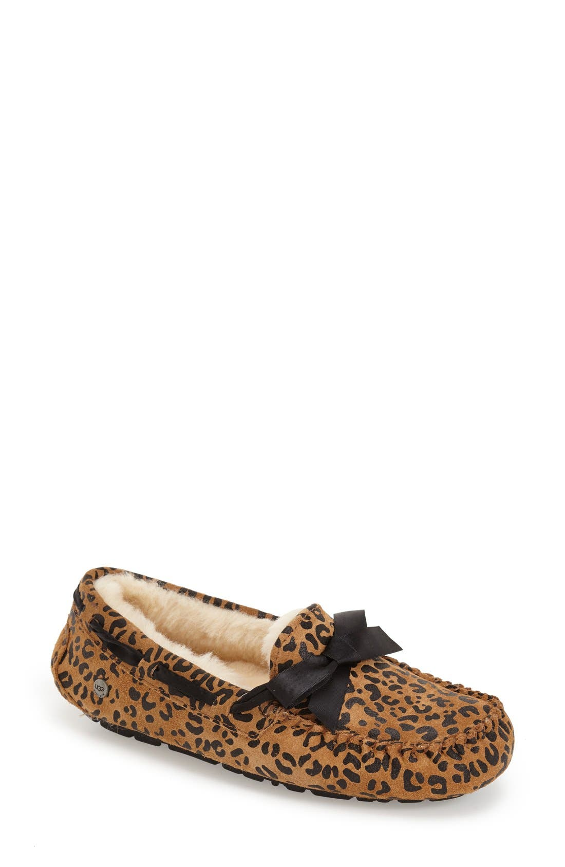 Alternate Image 1 Selected - UGG® Dakota Leopard Print Bow Slipper (Women)