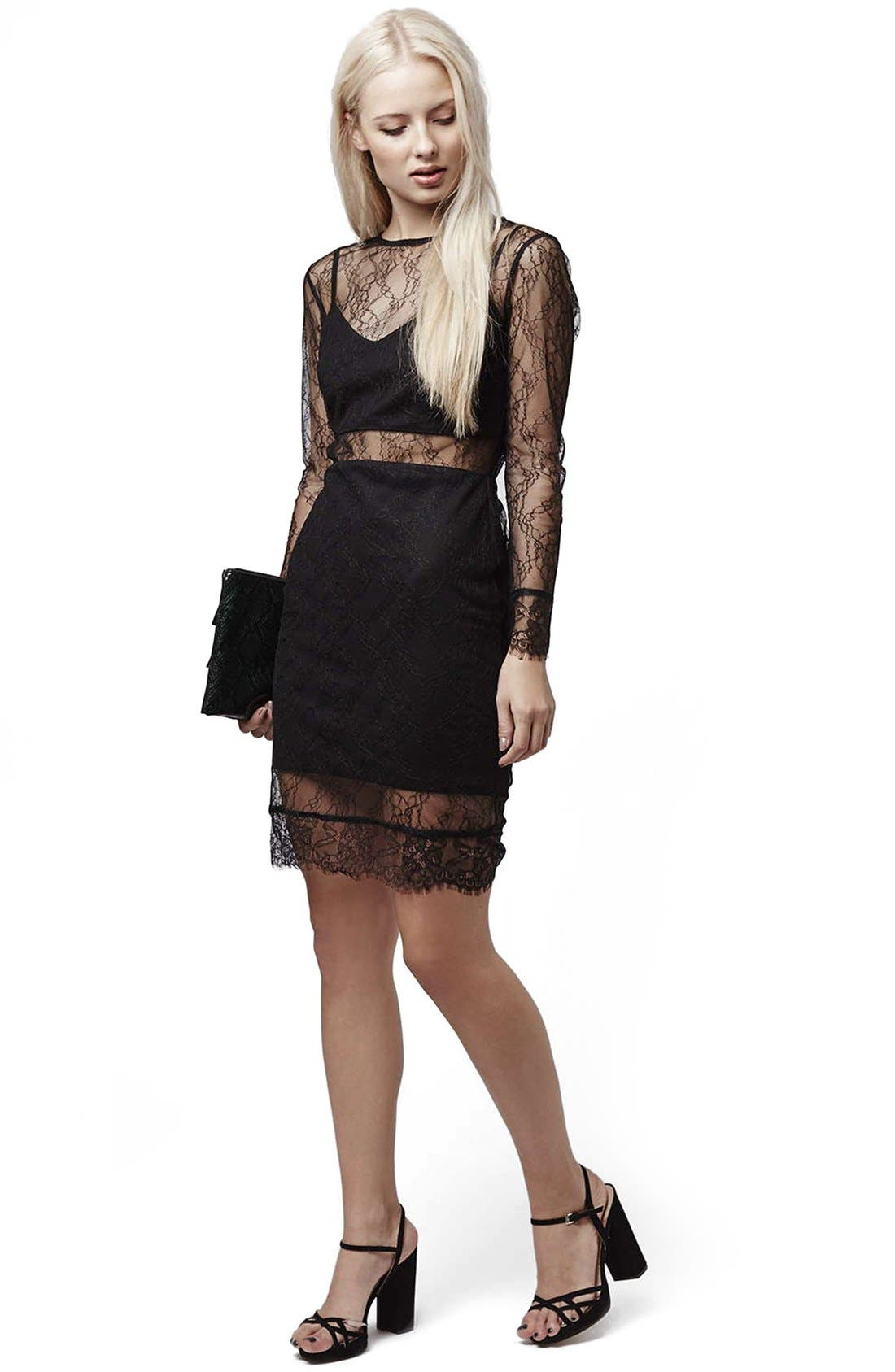 Alternate Image 5  - Topshop Lace Overlay Body-Con Dress (Regular & Petite)