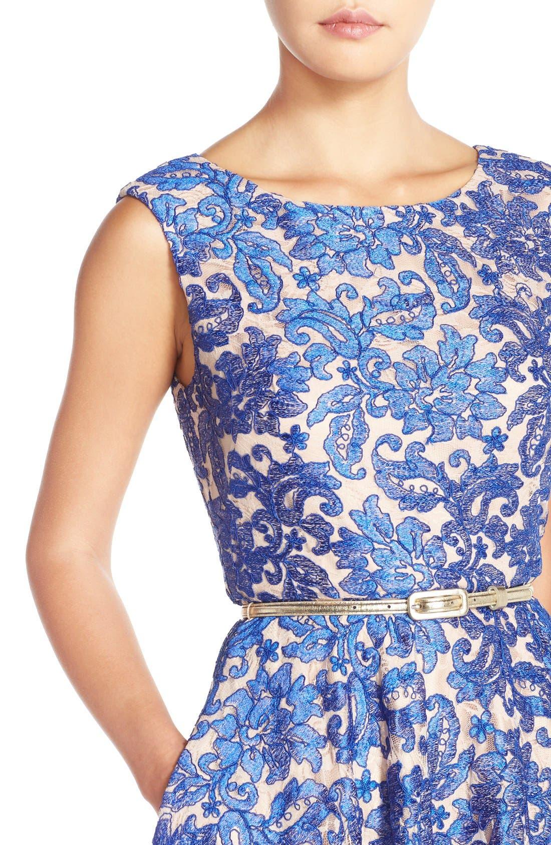 Alternate Image 5  - Eliza J Embroidered Lace Fit & Flare Dress (Regular & Petite)
