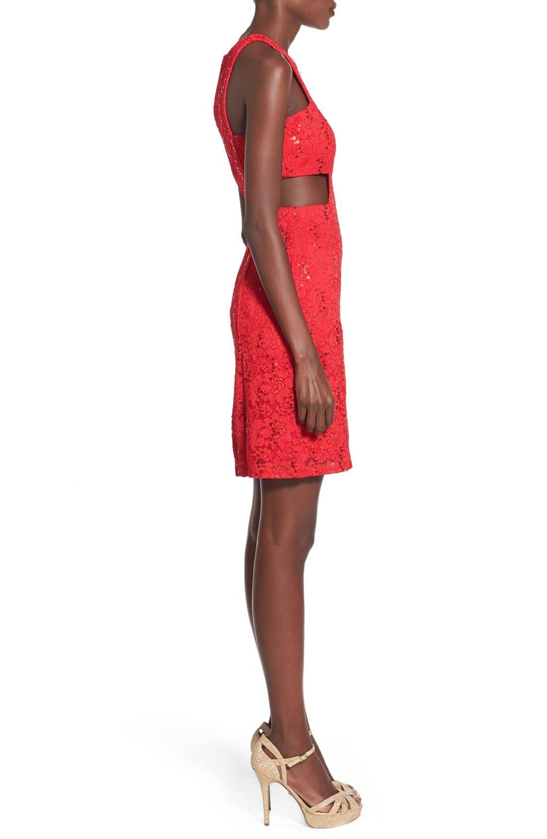 Alternate Image 3  - Morgan & Co. Side Cutout Sequin Lace Dress