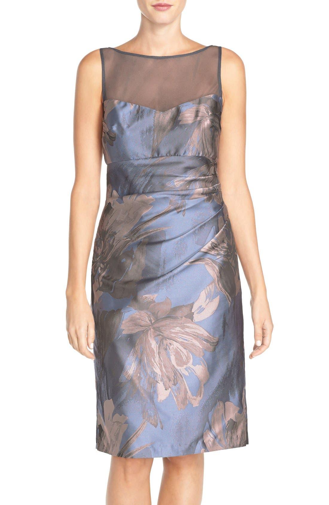 Alternate Image 1 Selected - Maggy London 'Splash' Floral Jacquard Sheath Dress (Regular & Petite)