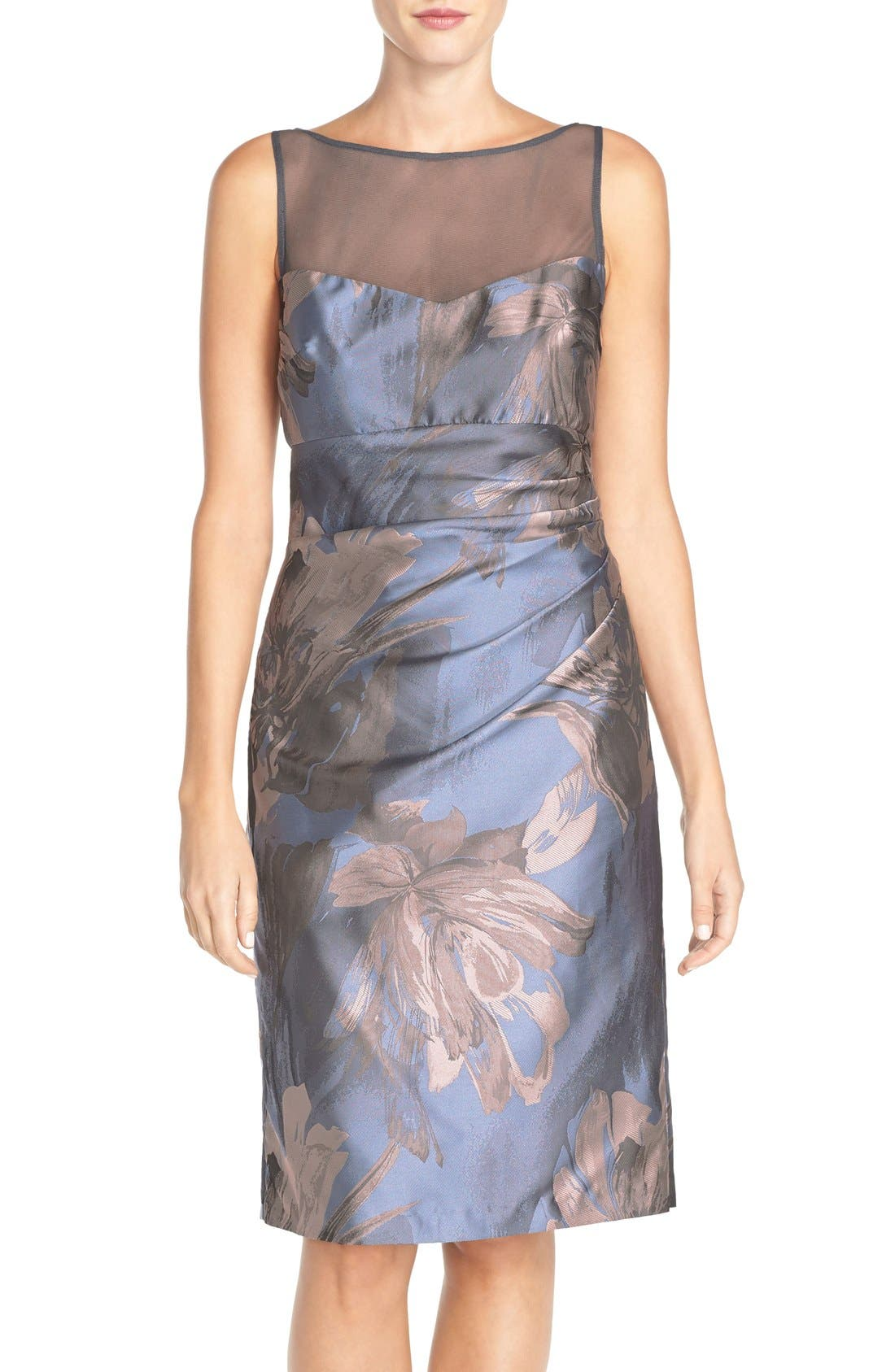 Main Image - Maggy London 'Splash' Floral Jacquard Sheath Dress (Regular & Petite)