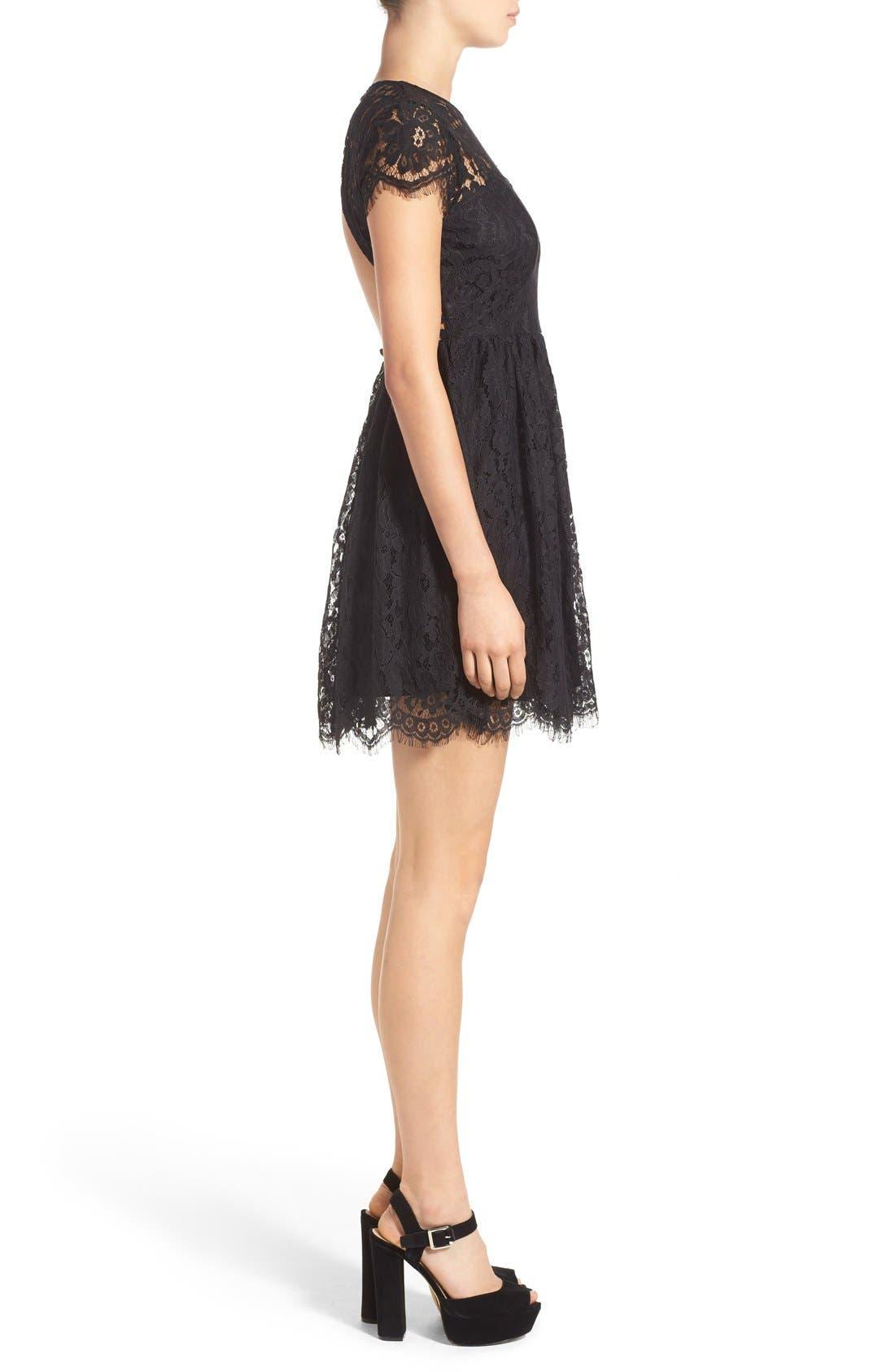 Alternate Image 3  - Glamorous Lace Open Back Fit & Flare Dress