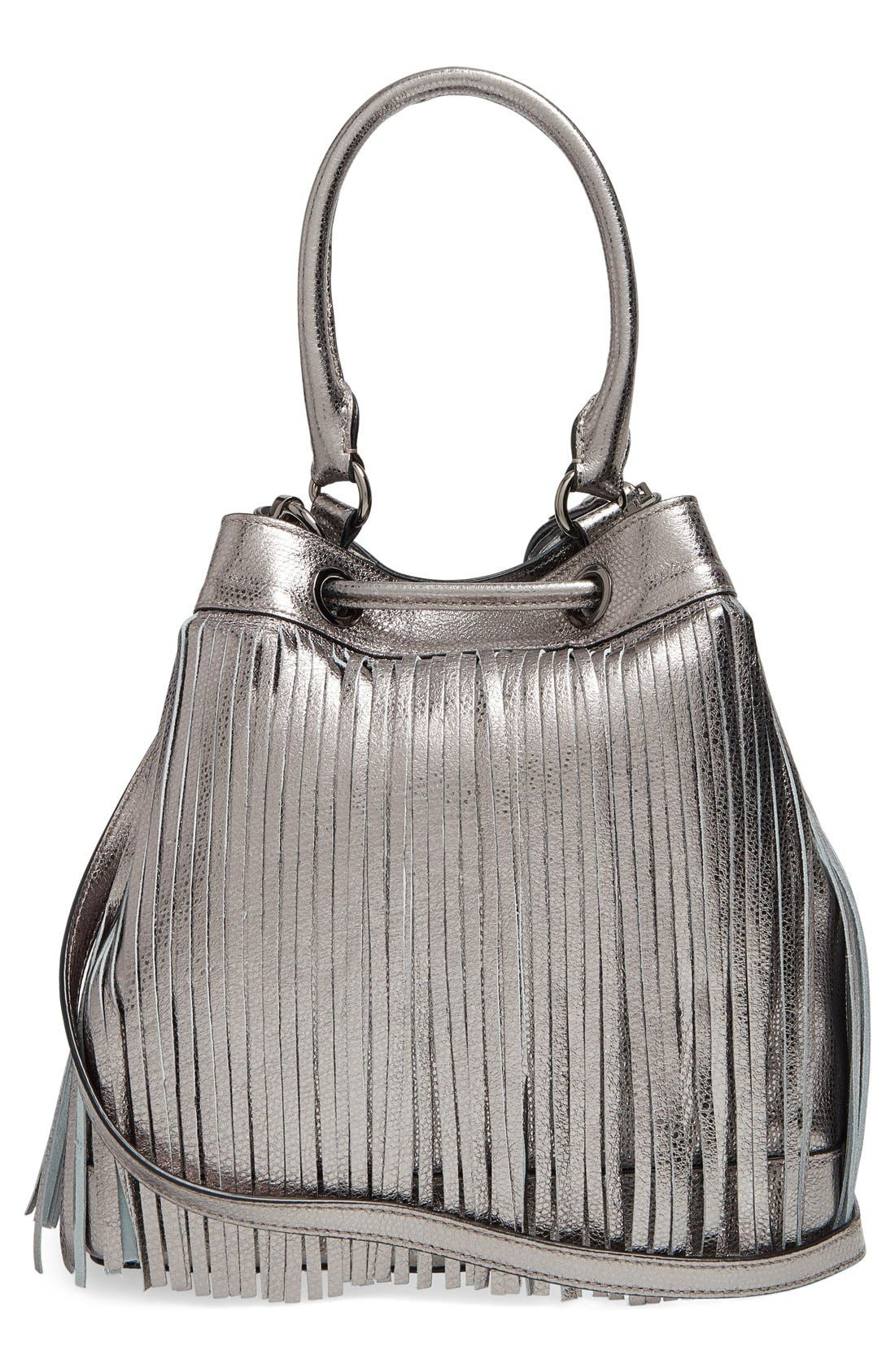 Alternate Image 3  - Milly 'Large' Metallic Leather Fringe Bucket Bag