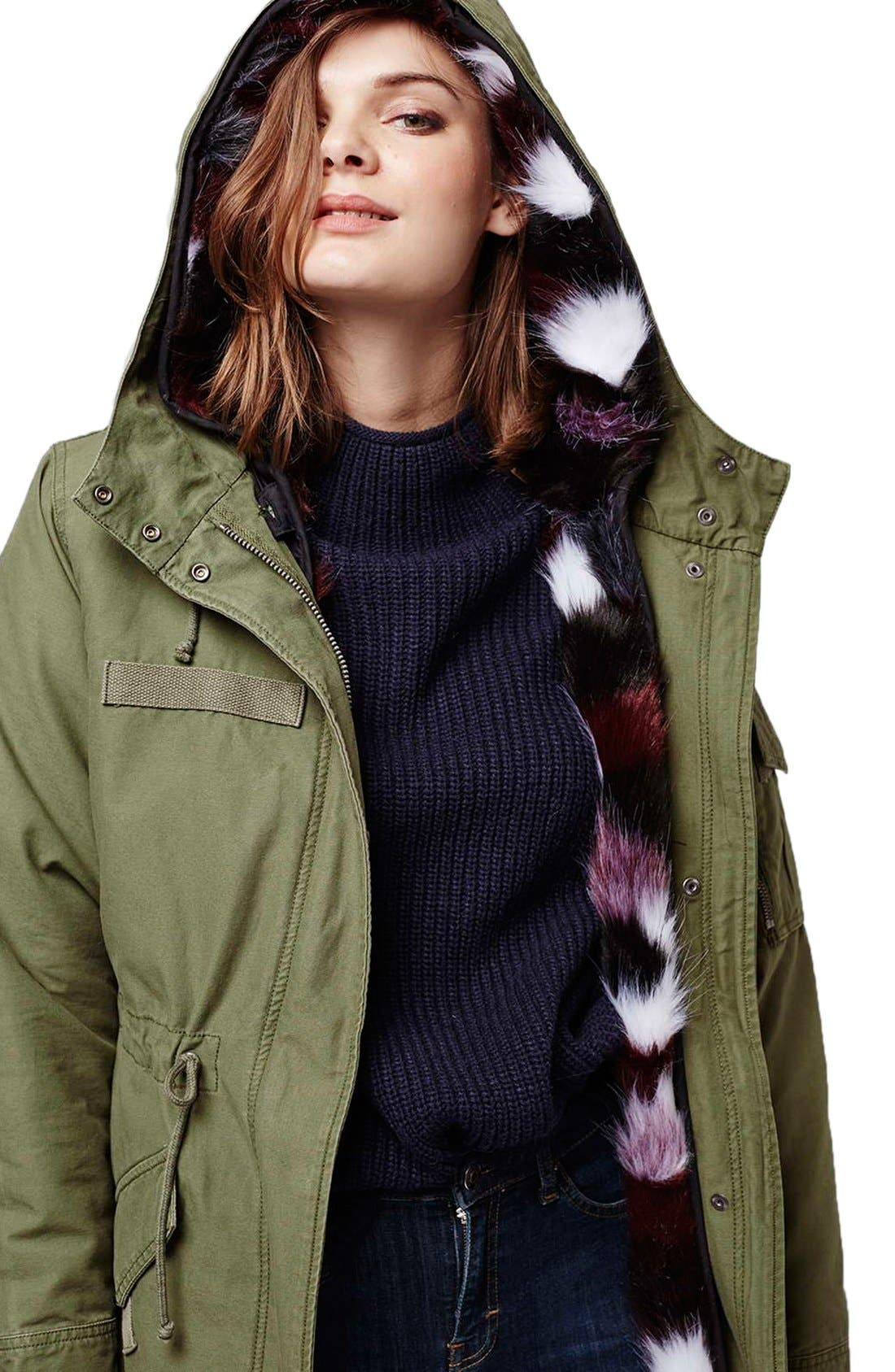 Alternate Image 6  - Topshop Patchwork Faux Fur Lined Parka