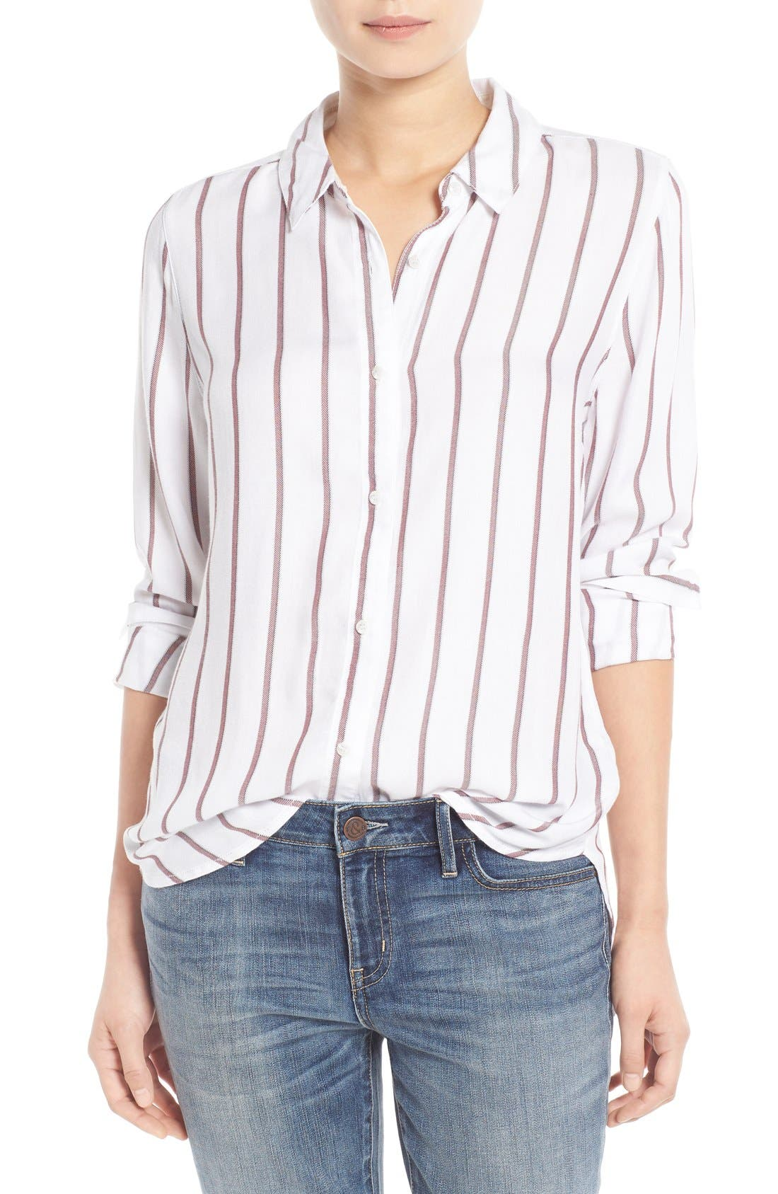 Main Image - Treasure&Bond Stripe Button Front Tunic Shirt
