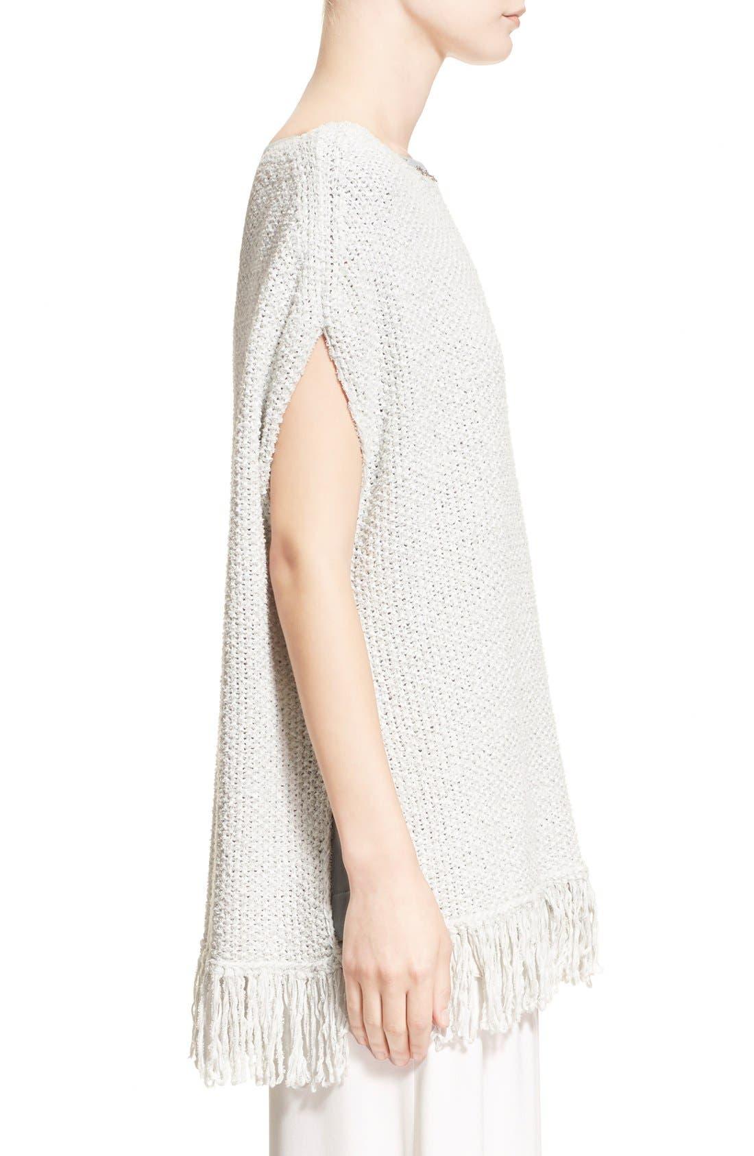 Alternate Image 5  - Fabiana Filippi Fringe Trim Cotton Blend Poncho Sweater