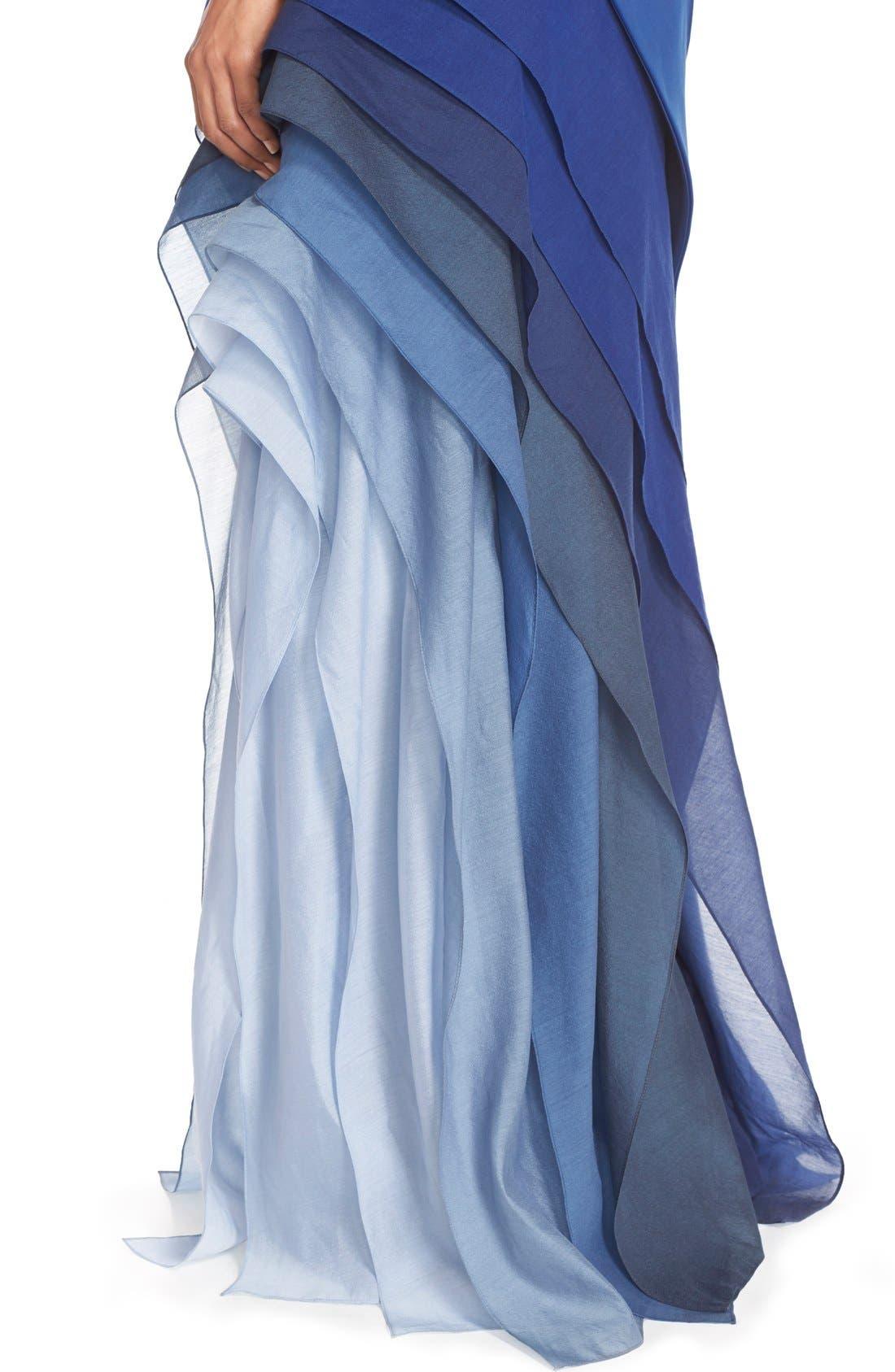 Alternate Image 3  - Halston Heritage Asymmetrical Satin & Voile A-Line Gown