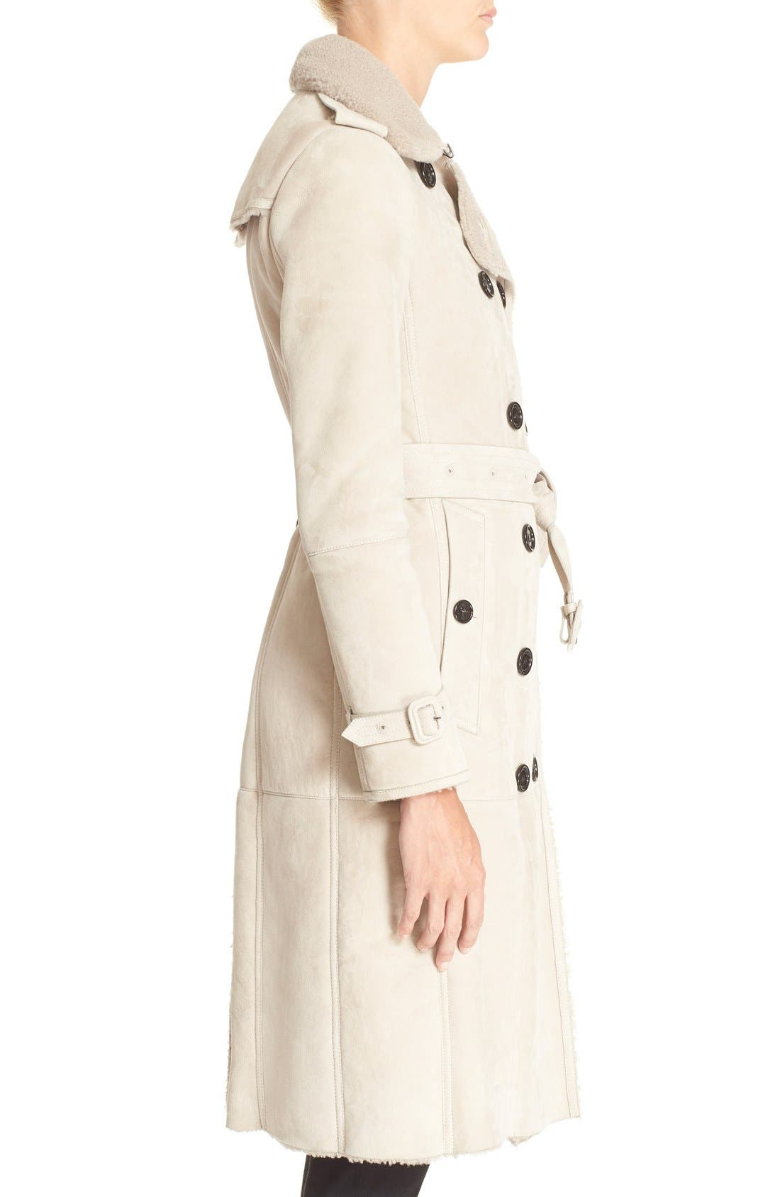 Alternate Image 3  - Burberry London 'Sandringham' Genuine Shearling Trench Coat
