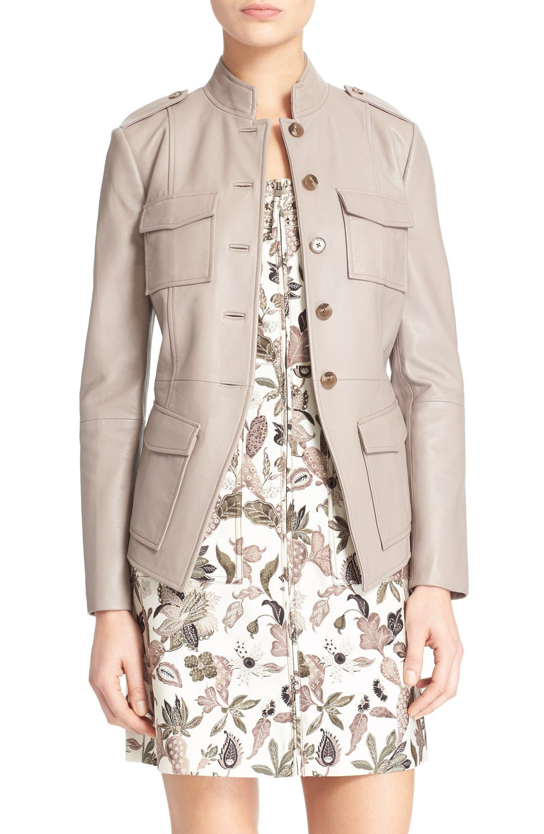 Alternate Image 1 Selected - Tory Burch Leather Military Jacket