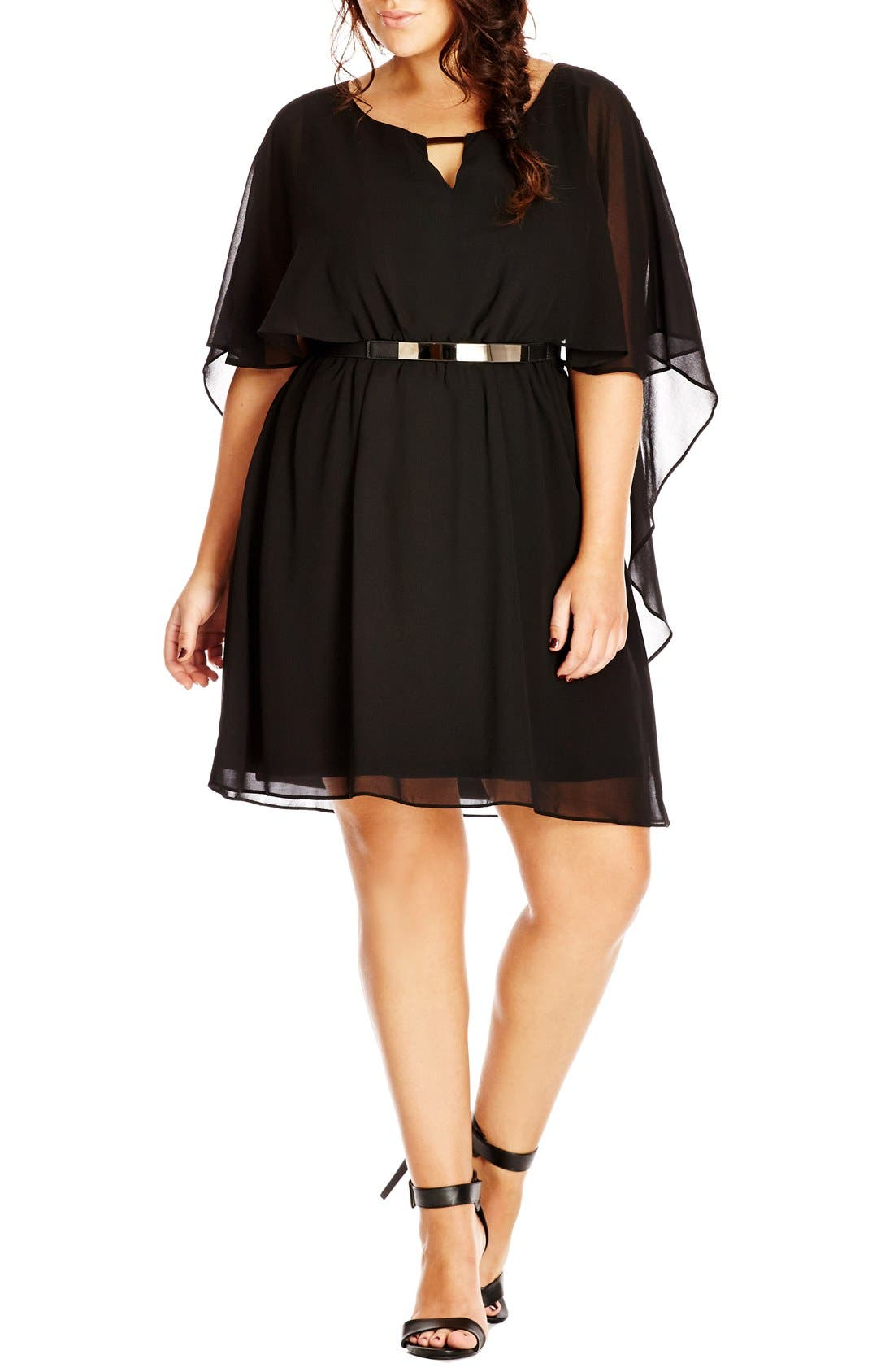 CITY CHIC Belted Capelet Dress